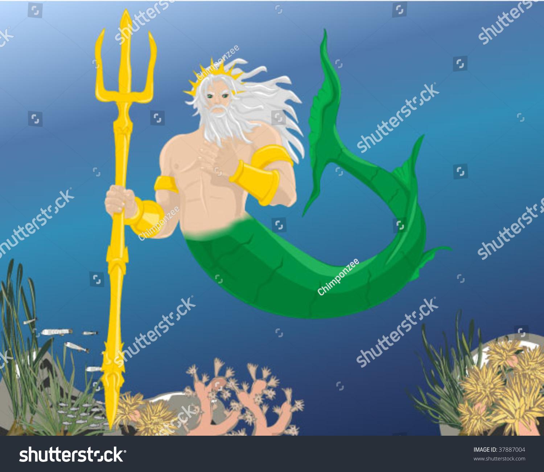 poseidon greek god sea stock vector 37887004 shutterstock