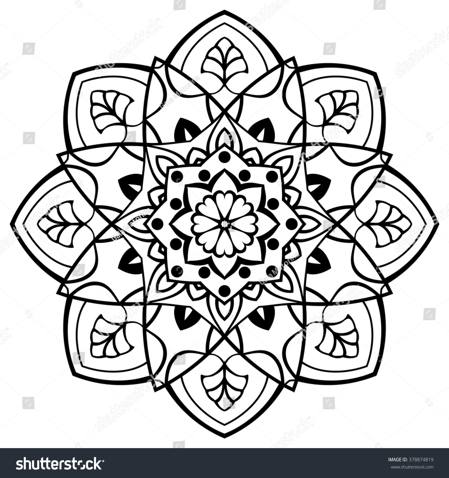 Vector Simple Mandala Round Ornament Coloring Stock Vector