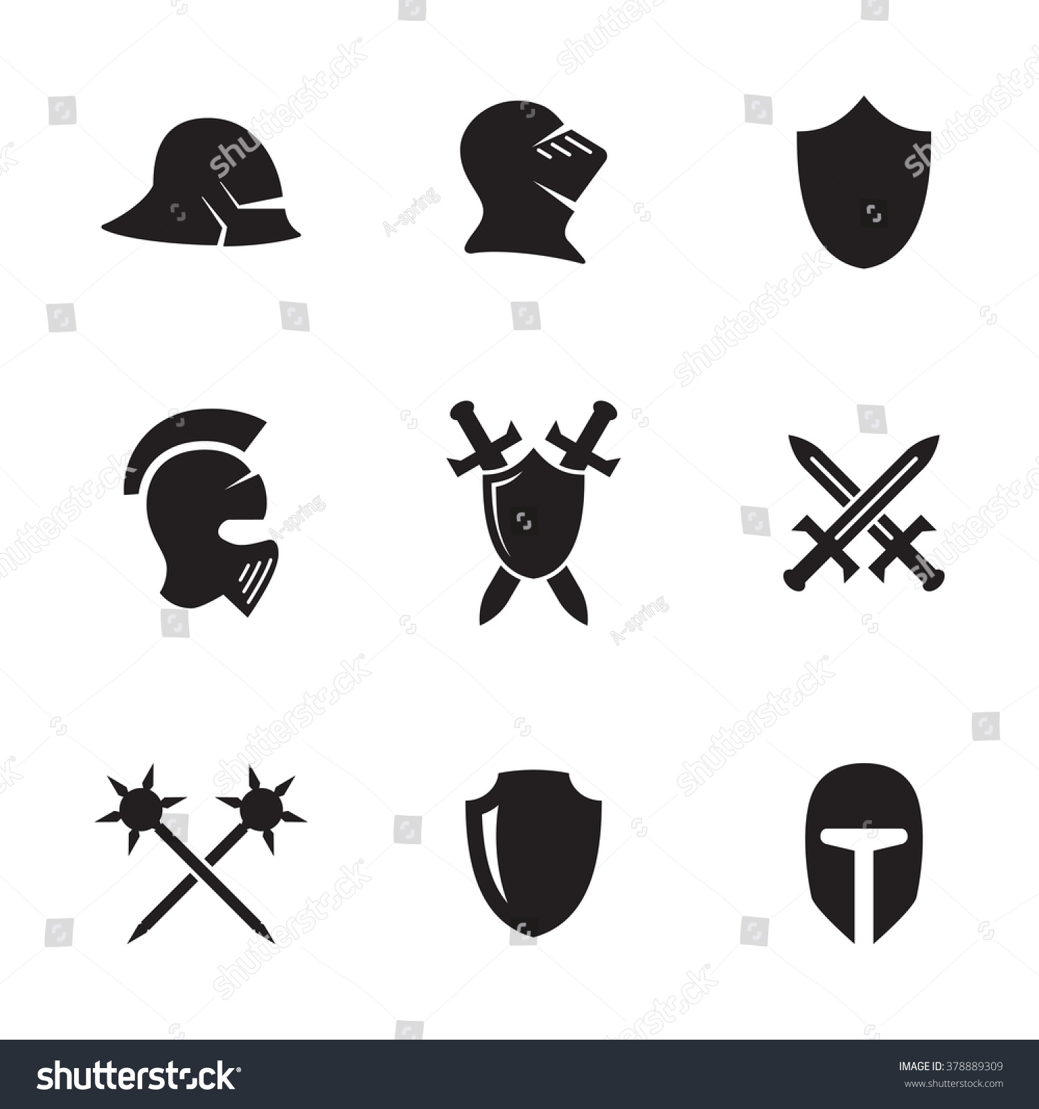 Set Isolated Icons On Theme War Stock Vector Royalty Free