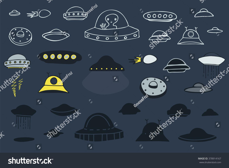 alien spaceship silhouette outline color set stock vector