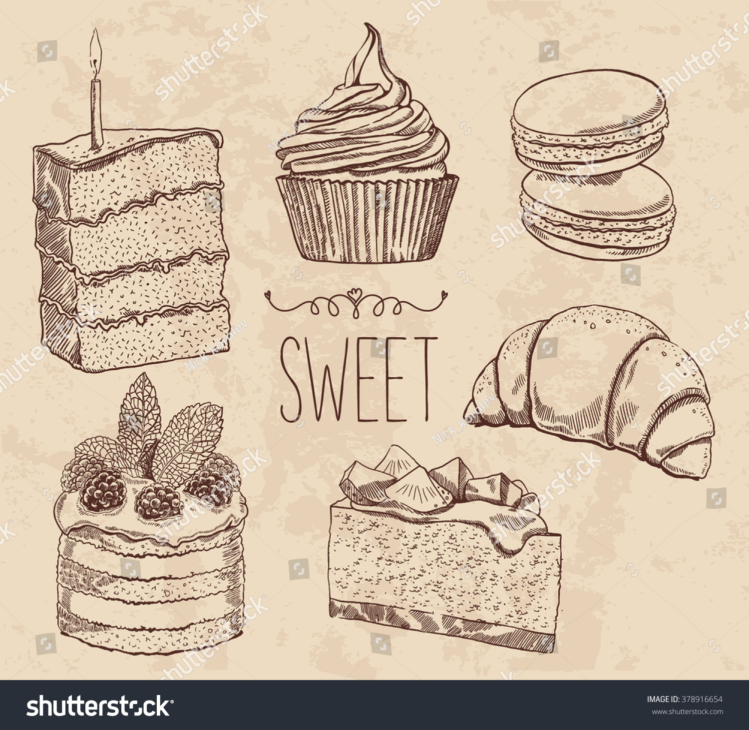 Vector Drawing Cakes Sweets Bakery Dessert Stock Vector ...