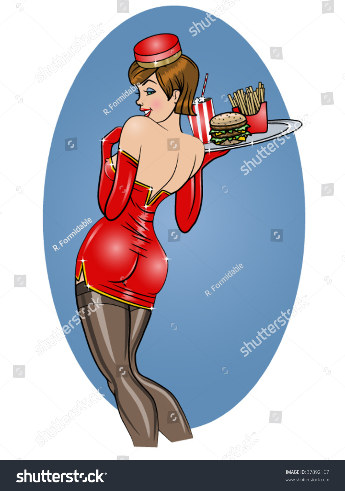 Vector Illustration Beautiful Sexy Carhop Pinup Stock Vector ...