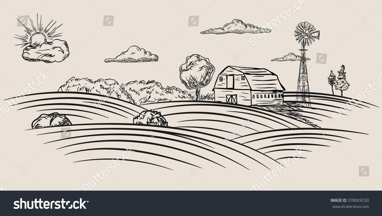Farmland Sketch Stock Vector (2018) 378929230 - Shutterstock for Farmland Sketch  585ifm