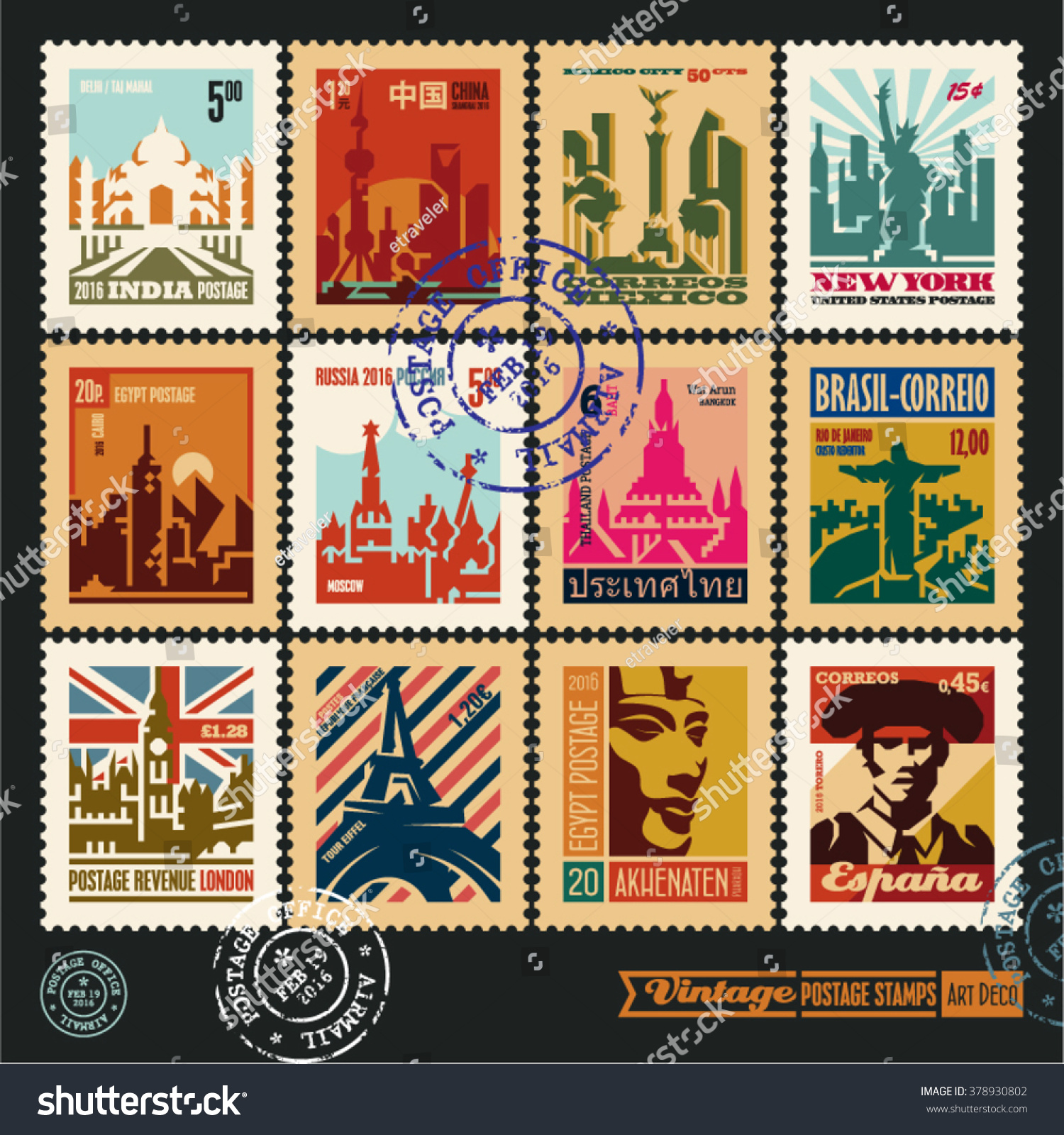 vetor stock de postage stamps cities world vintage travel livre de