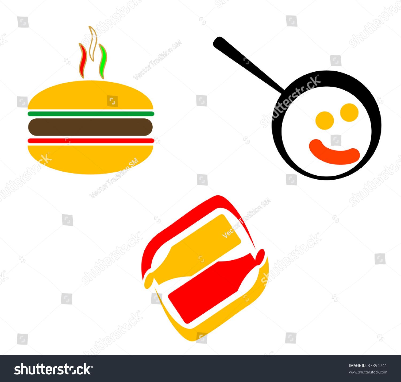 Fast Food Symbols Abstract Emblem Logo Stock Vector Royalty Free
