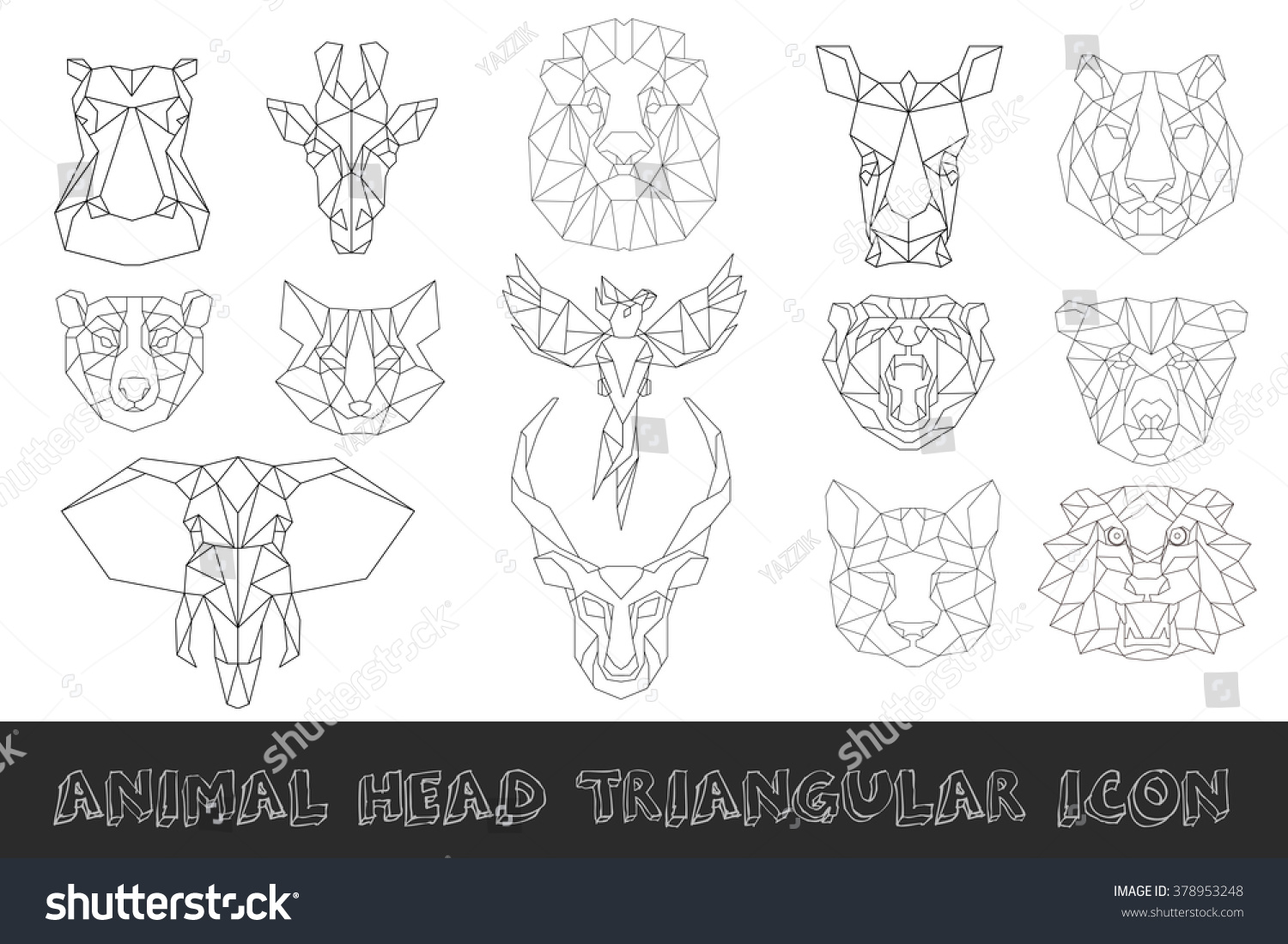 Tiger head triangular icon geometric trendy stock vector image - Front View Of Animal Head Triangular Icon Set Geometric Trendy Line Design Vector Illustration