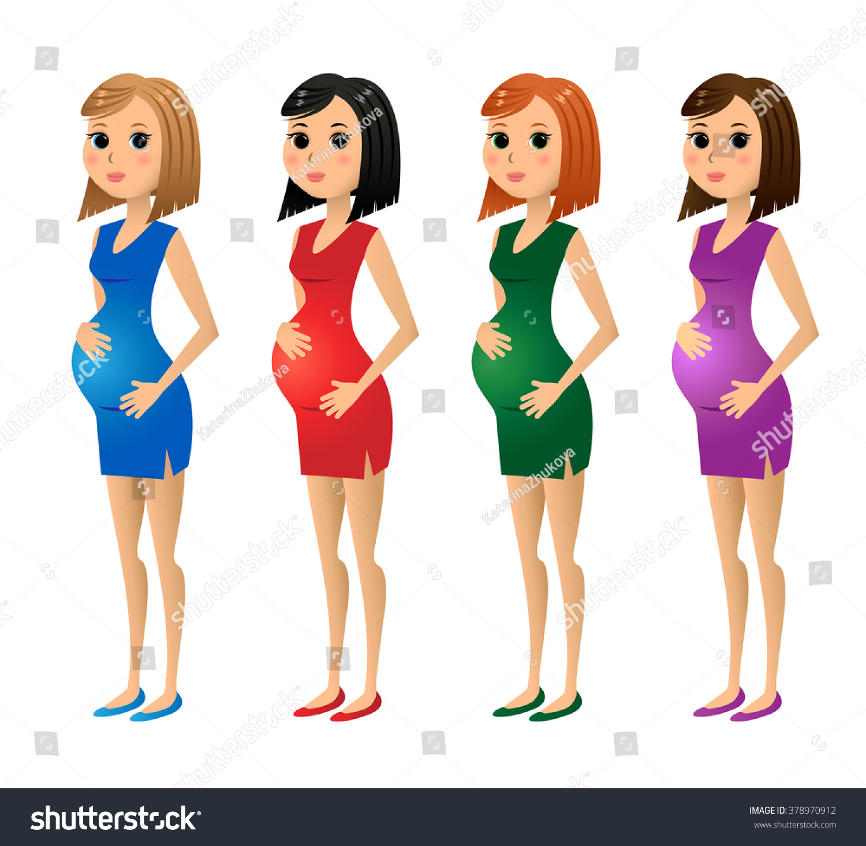 The dress blonde redhead - Set Of Pregnant Women Blonde Brunette Redhead In Varicolored Dresses