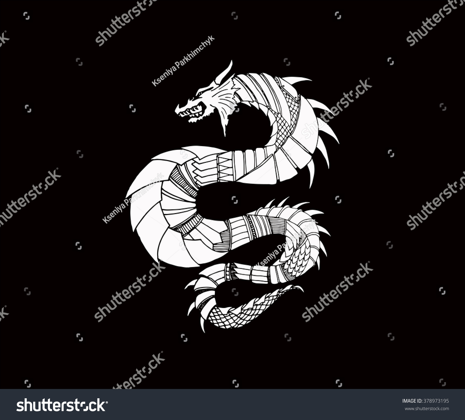 Hand draw ornamental dragon outline illustration stock vector hand draw ornamental dragon outline illustration with decorative ornaments ornament vector illustration isolated on ccuart Images