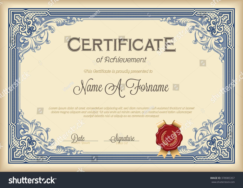 Certificate achievement vintage floral frame royal stock vector certificate of achievement vintage floral frame royal blue xflitez Choice Image