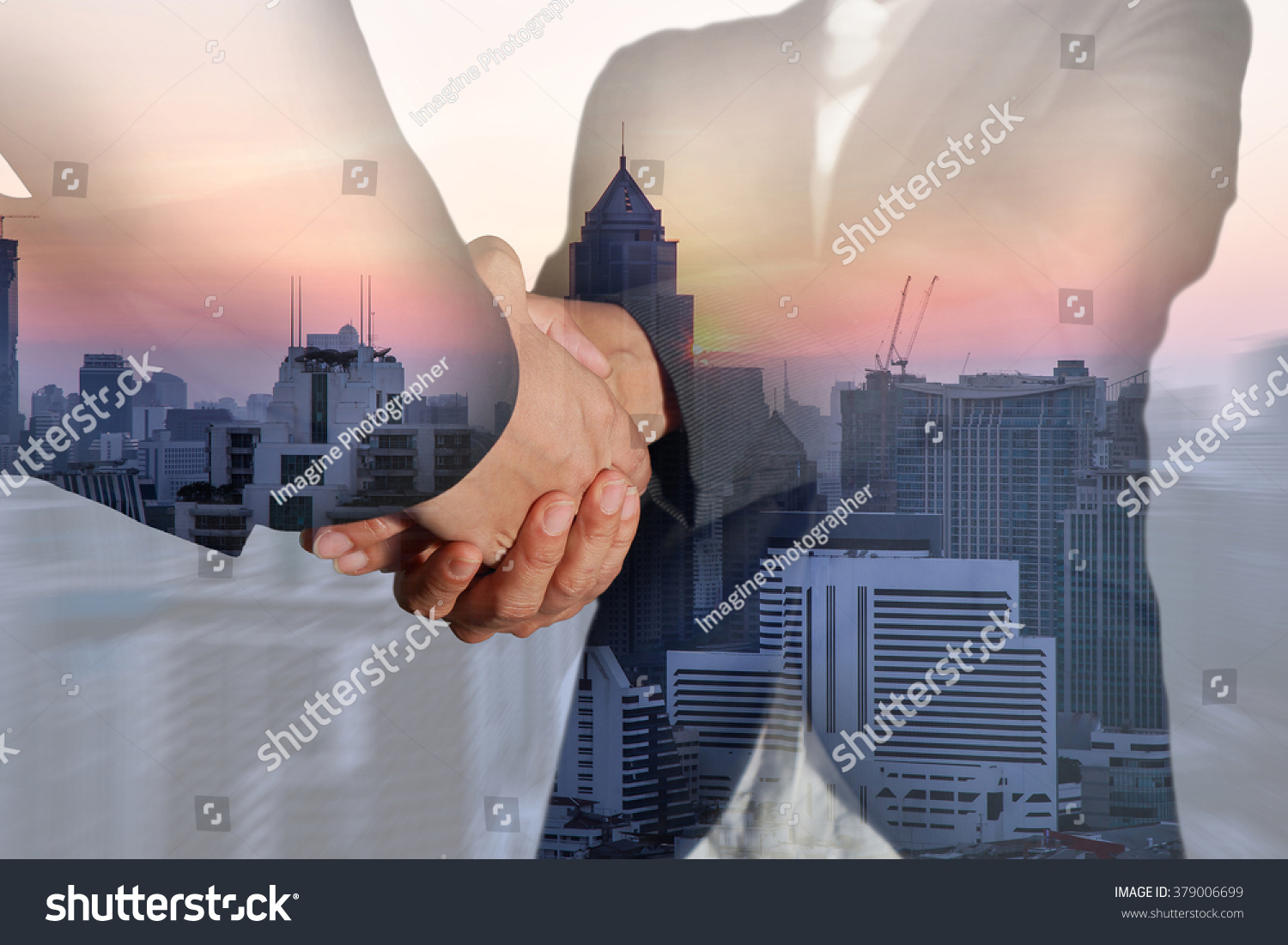 Double exposure of business women double handshake and sunset cityscape on camera zoom background as congratulation concept. #379006699