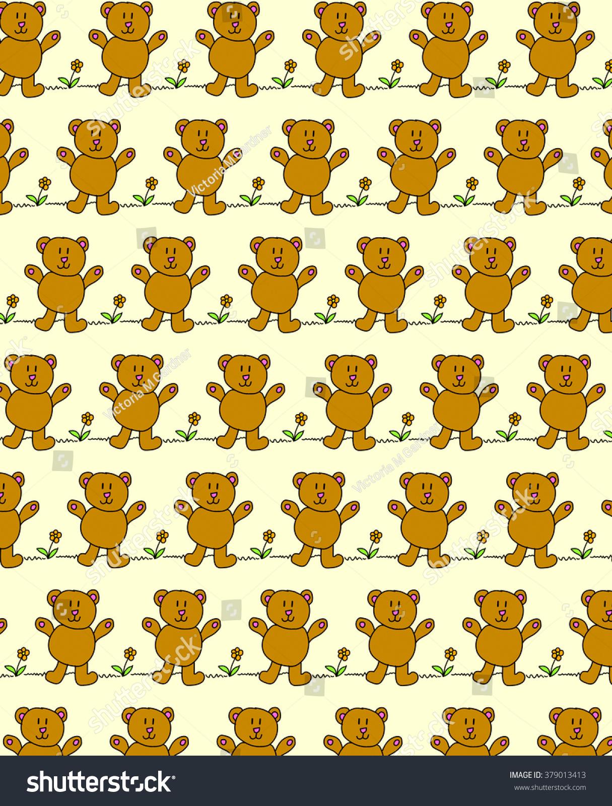 Illustration Repetitive Teddy Bear Design Wallpaper Stock