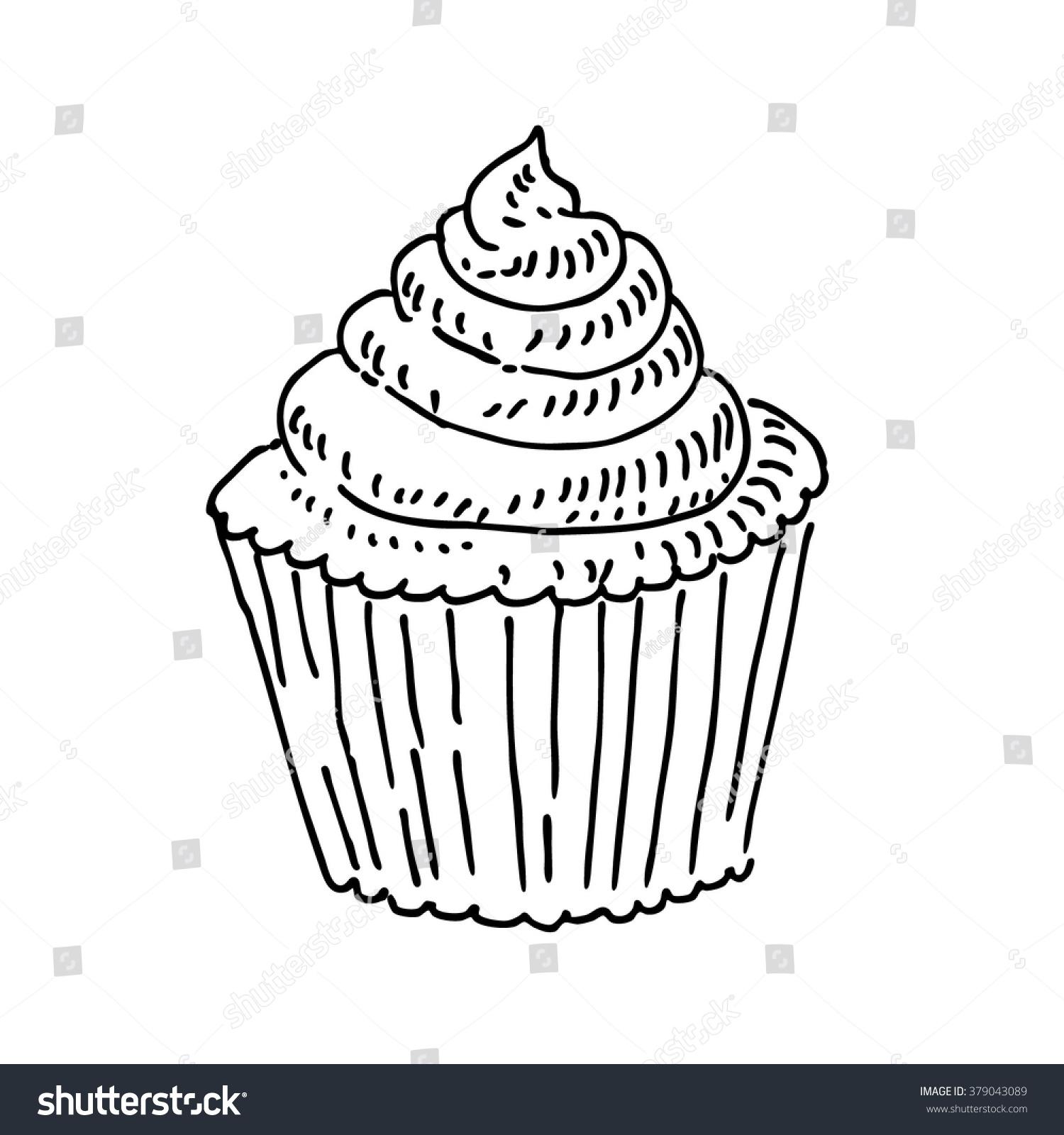 Tasty Cake Or Cupcake, Food Sketch Drawing. Vintage Line ...