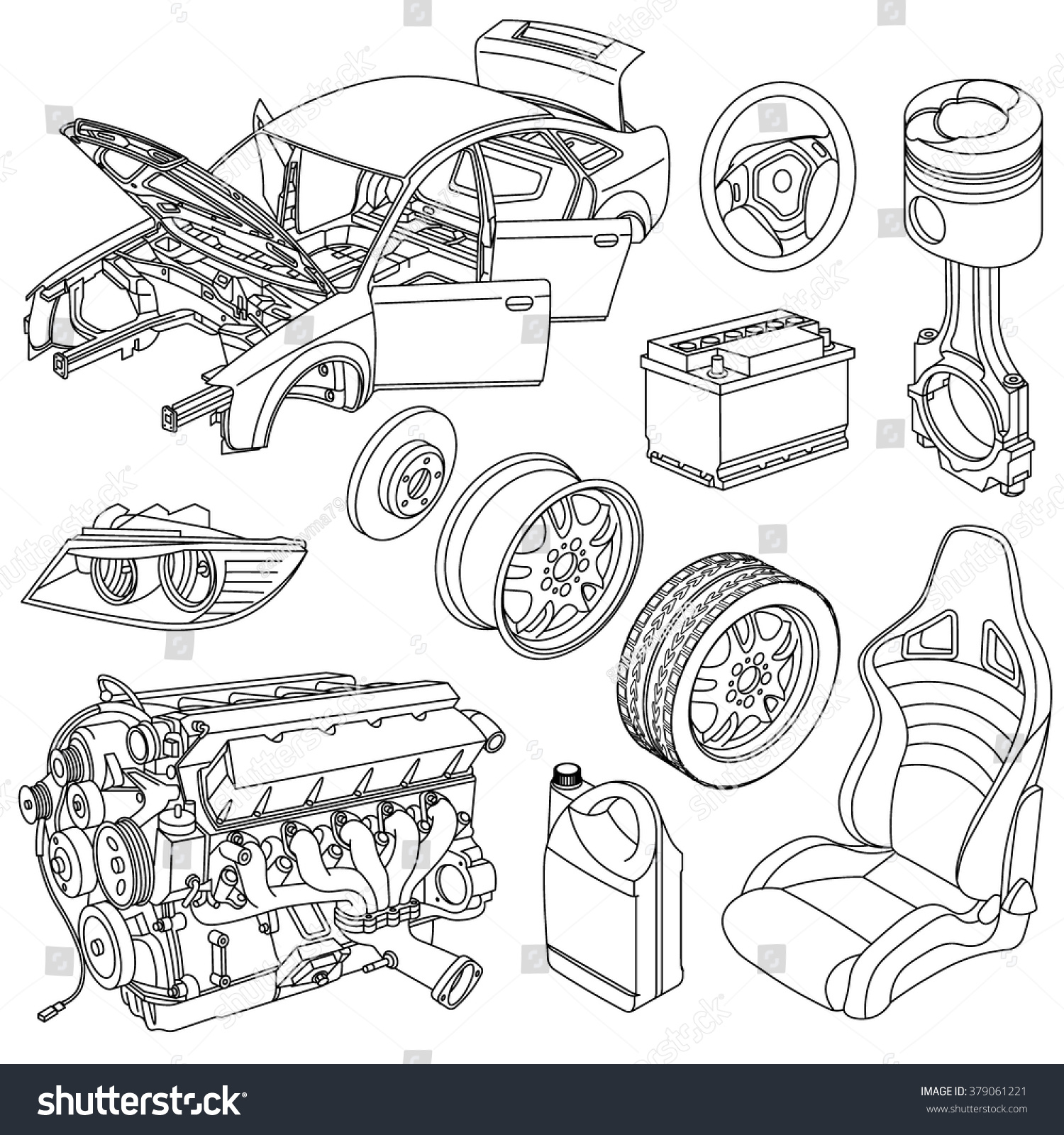 Car spare parts outline engine body vector de stock379061221 car spare parts outline engine body wheel piston battery seat malvernweather Images
