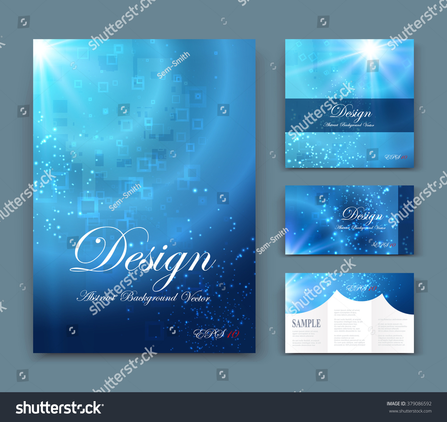 abstract position business card set geometric stock vector