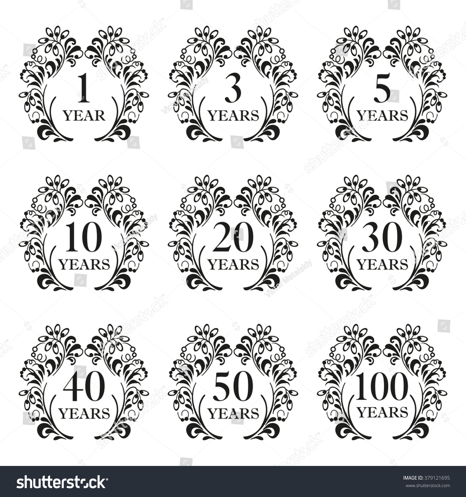 Anniversary icon set anniversary symbols ornate stock illustration anniversary symbols in ornate frame with floral elements 13 buycottarizona