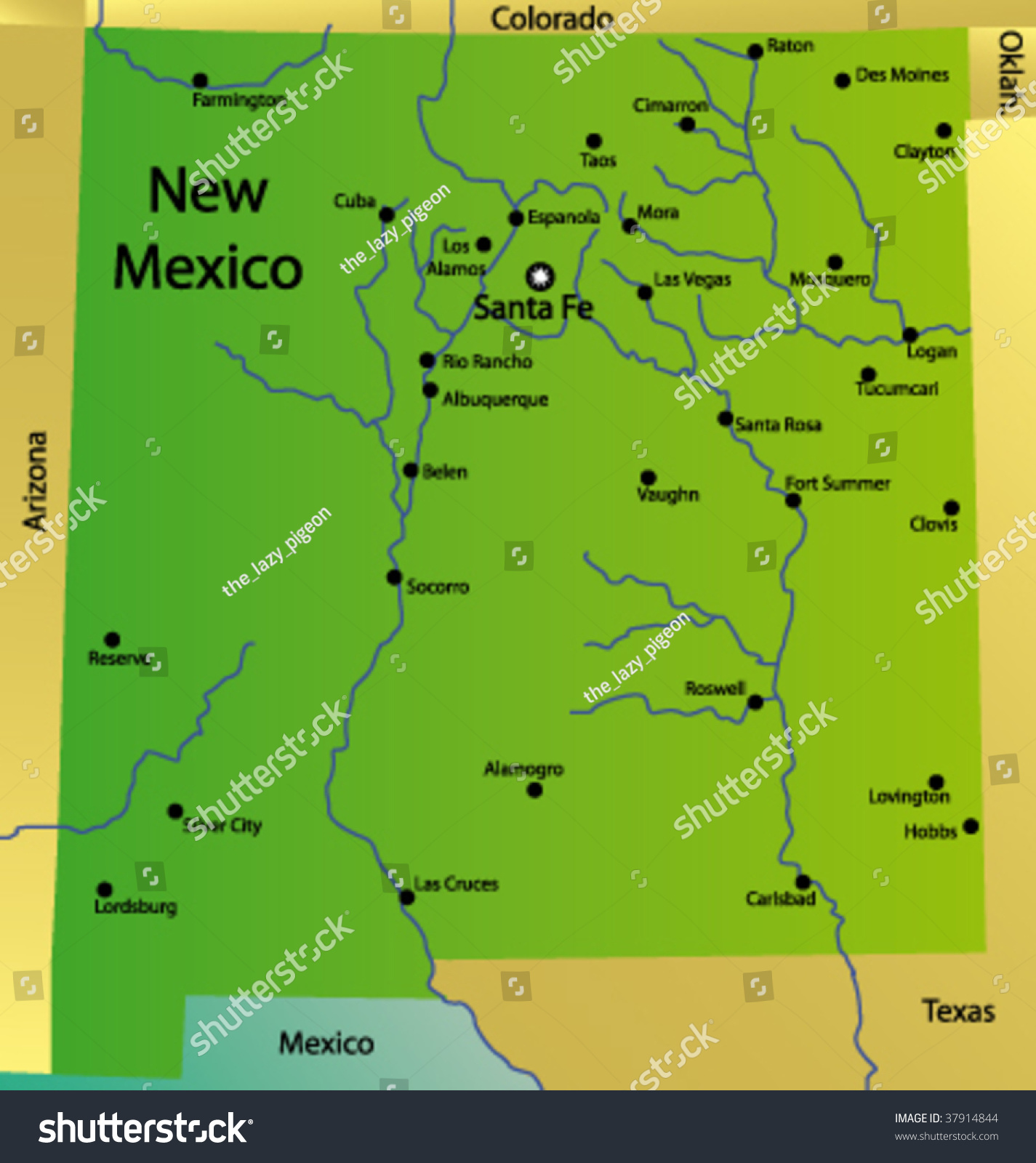 Detailed Vector Map New Mexico State Stock Vector 37914844