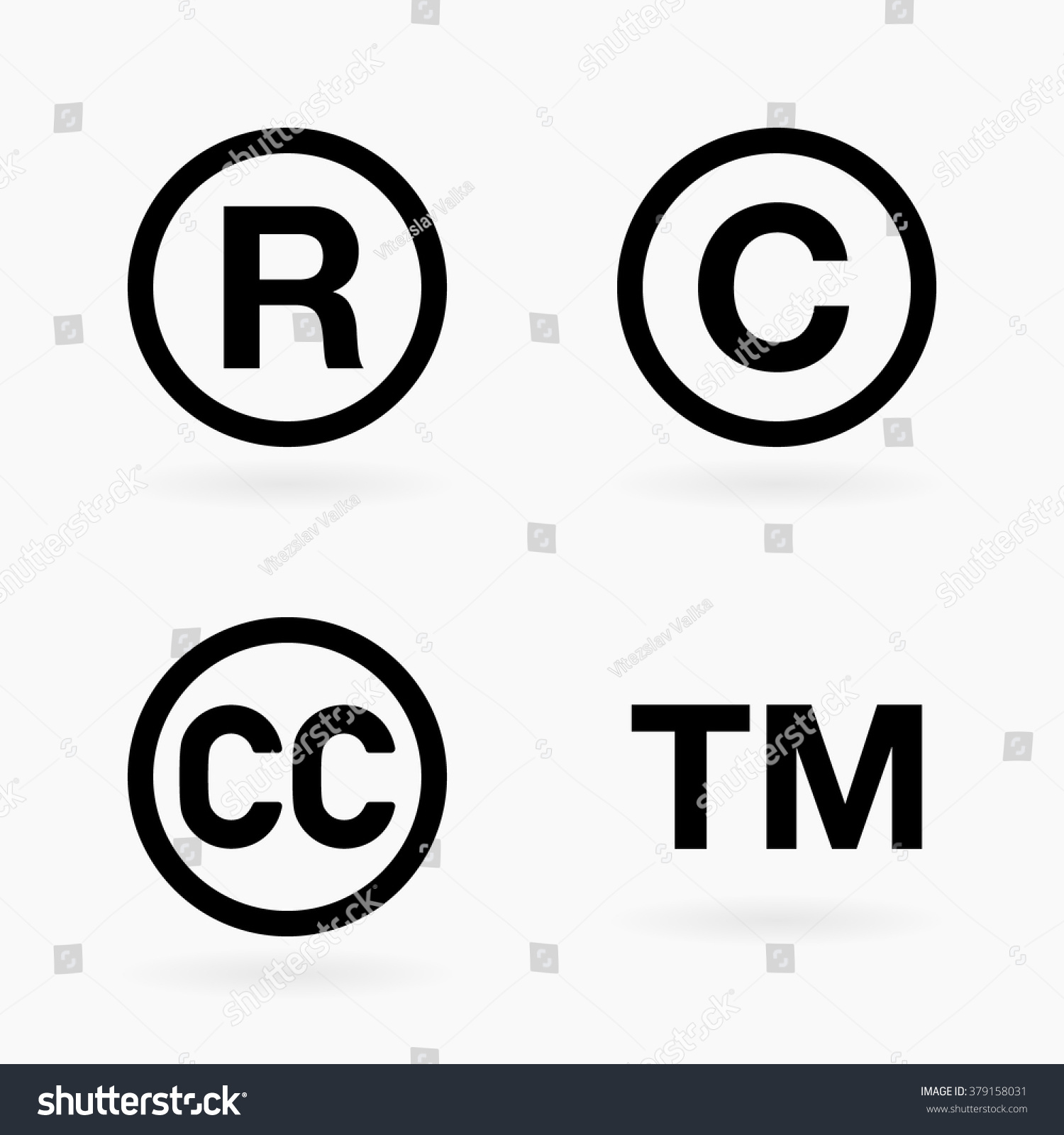 Intellectual Property Icon: Set Of Four Intellectual Property And Public Domain Black