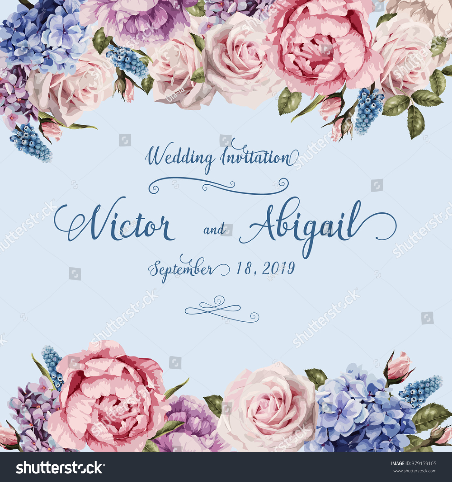 Greeting Card Roses Watercolor Can Be Stock Vector 379159105