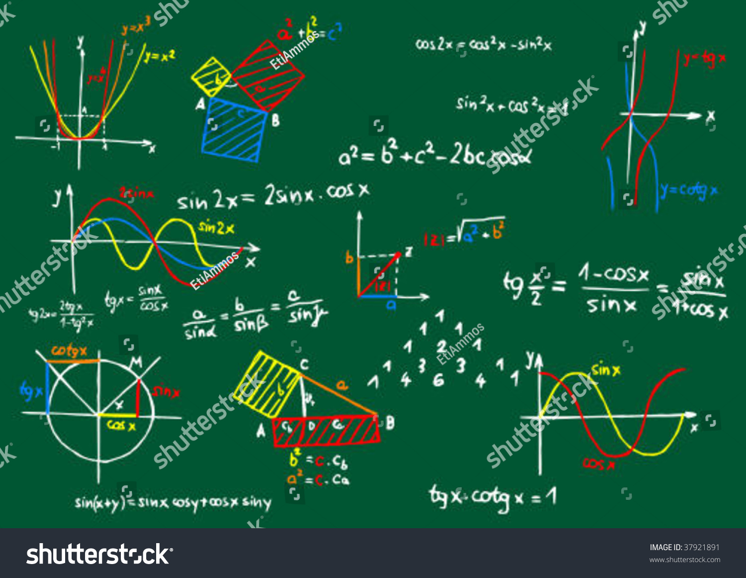 Green Blackboard Colored Mathematics Formula Sketches