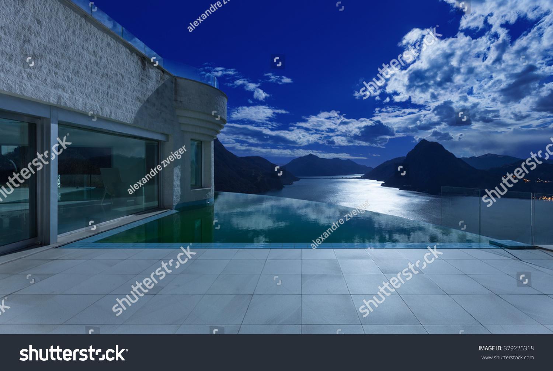 Beautiful Night Scene Modern House Infinity Stock Photo 379225318