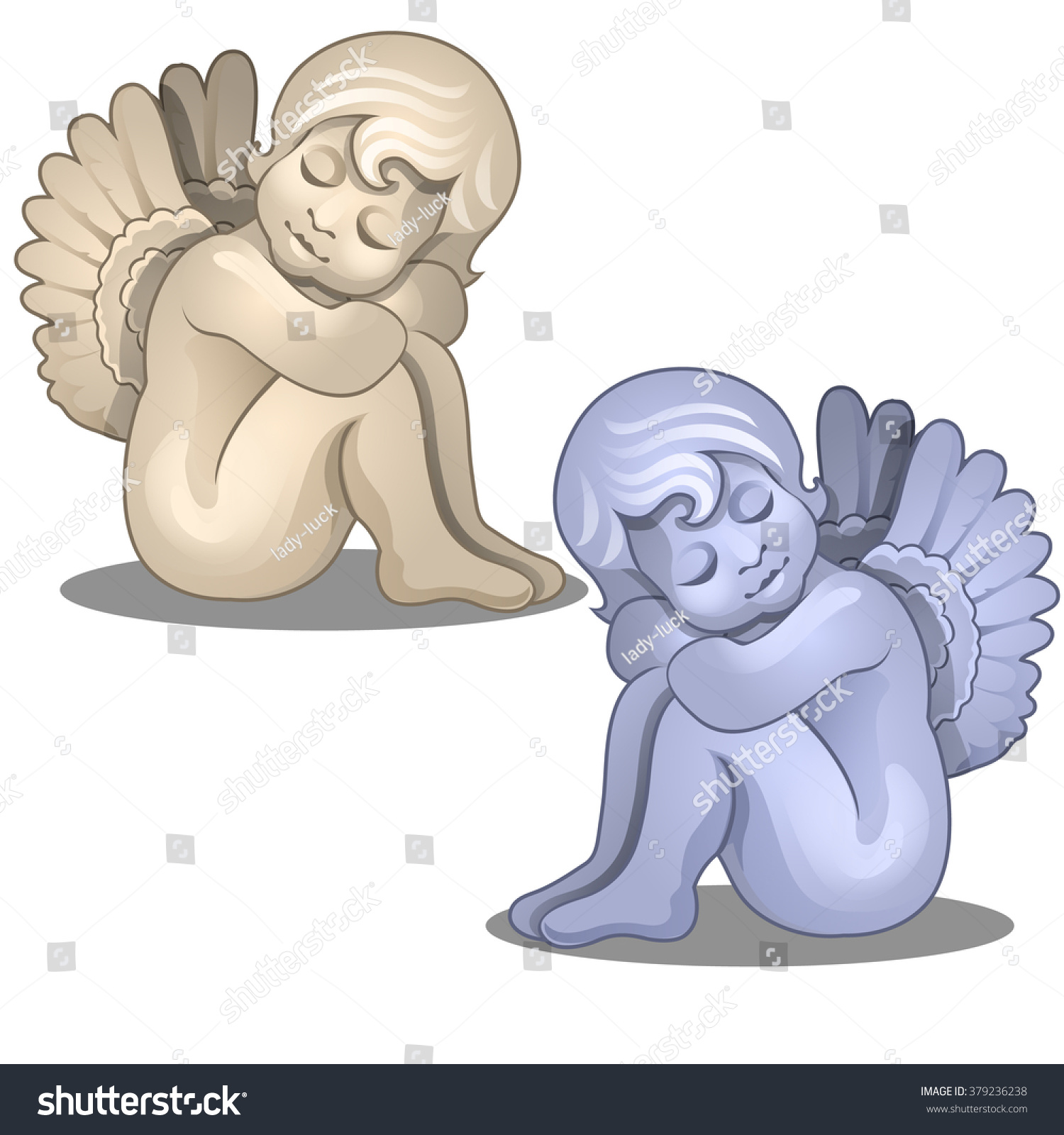 two seated statues angels vector stock vector 379236238 shutterstock
