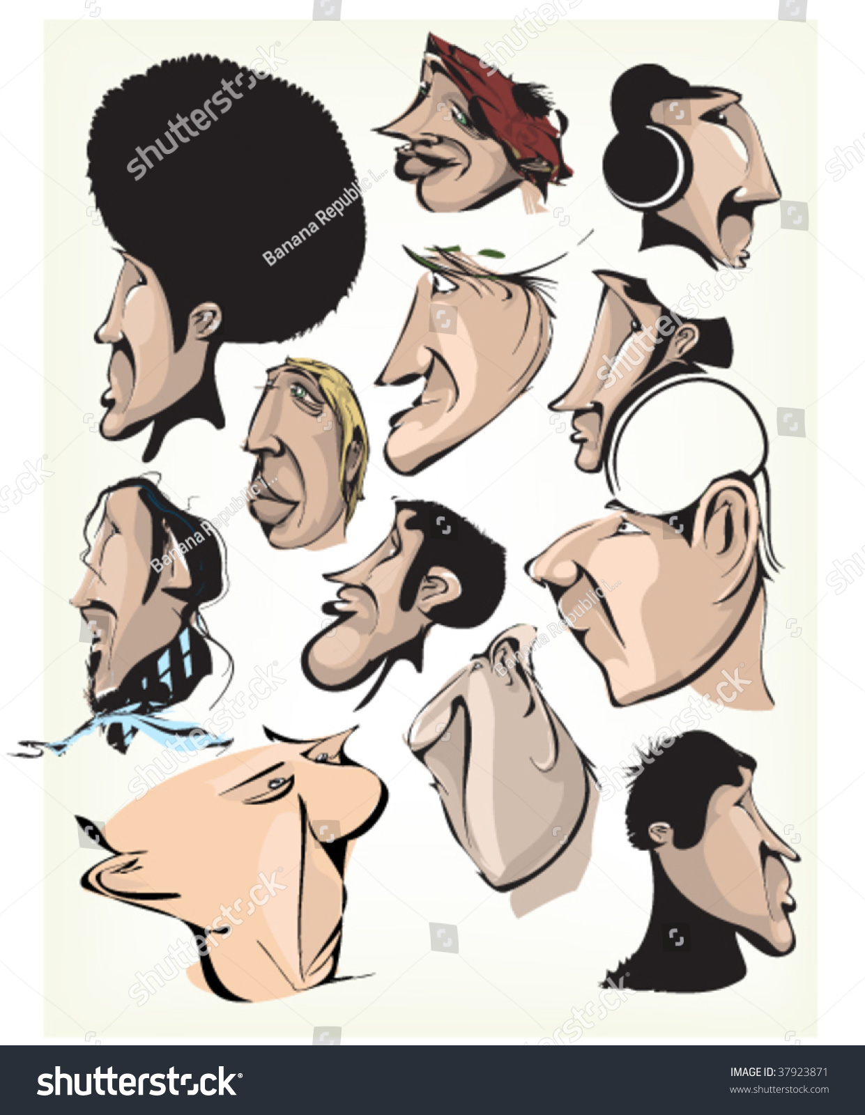 Comic Person Faces Graffiti Characters