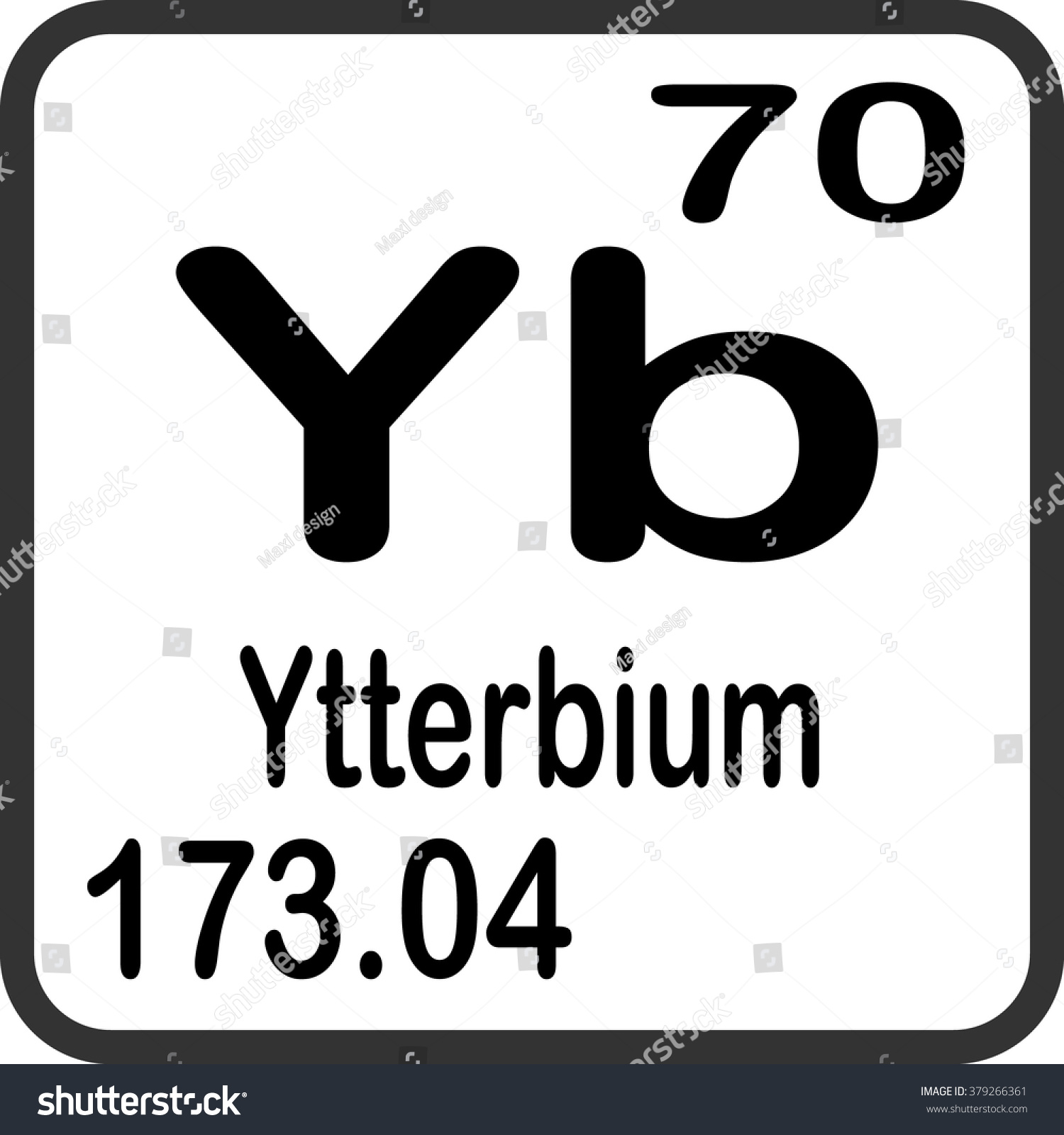 Periodic table elements ytterbium stock vector 379266361 periodic table of elements ytterbium gamestrikefo Choice Image