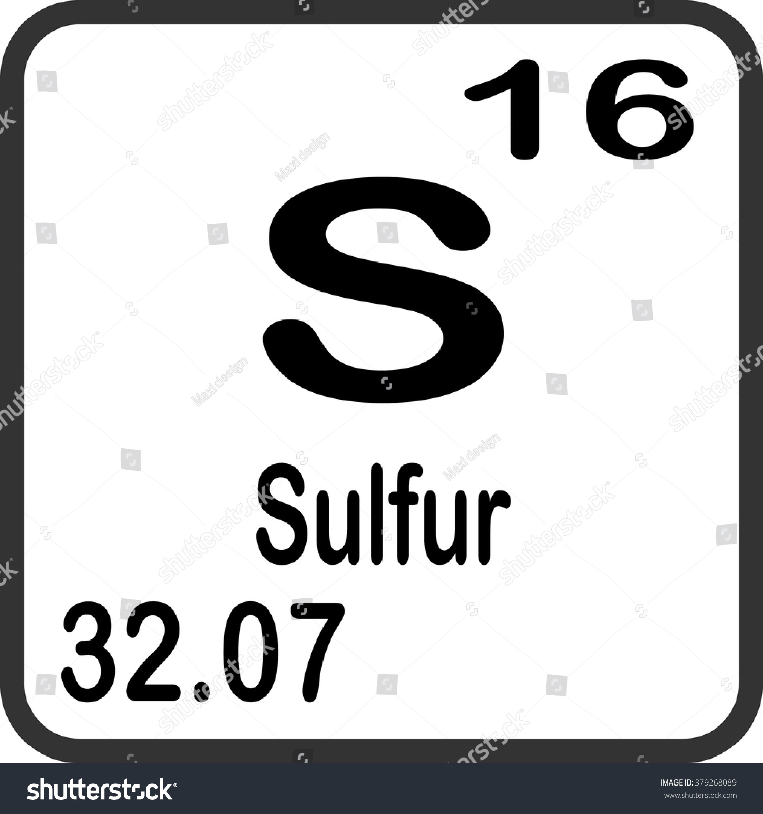 Periodic table elements sulfur stock vector 379268089 shutterstock periodic table of elements sulfur urtaz Image collections