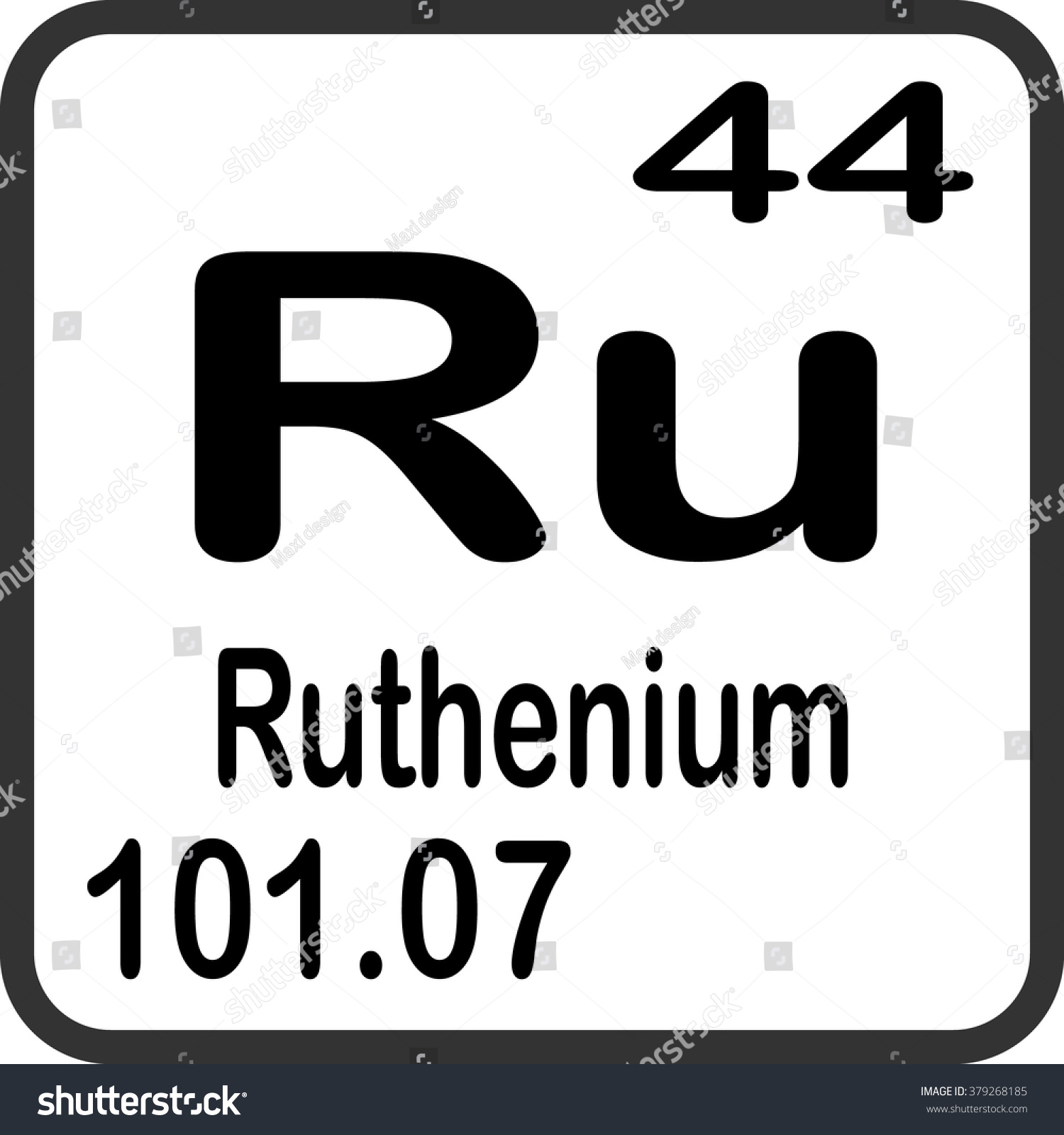 Periodic table elements ruthenium stock vector 379268185 periodic table of elements ruthenium gamestrikefo Choice Image