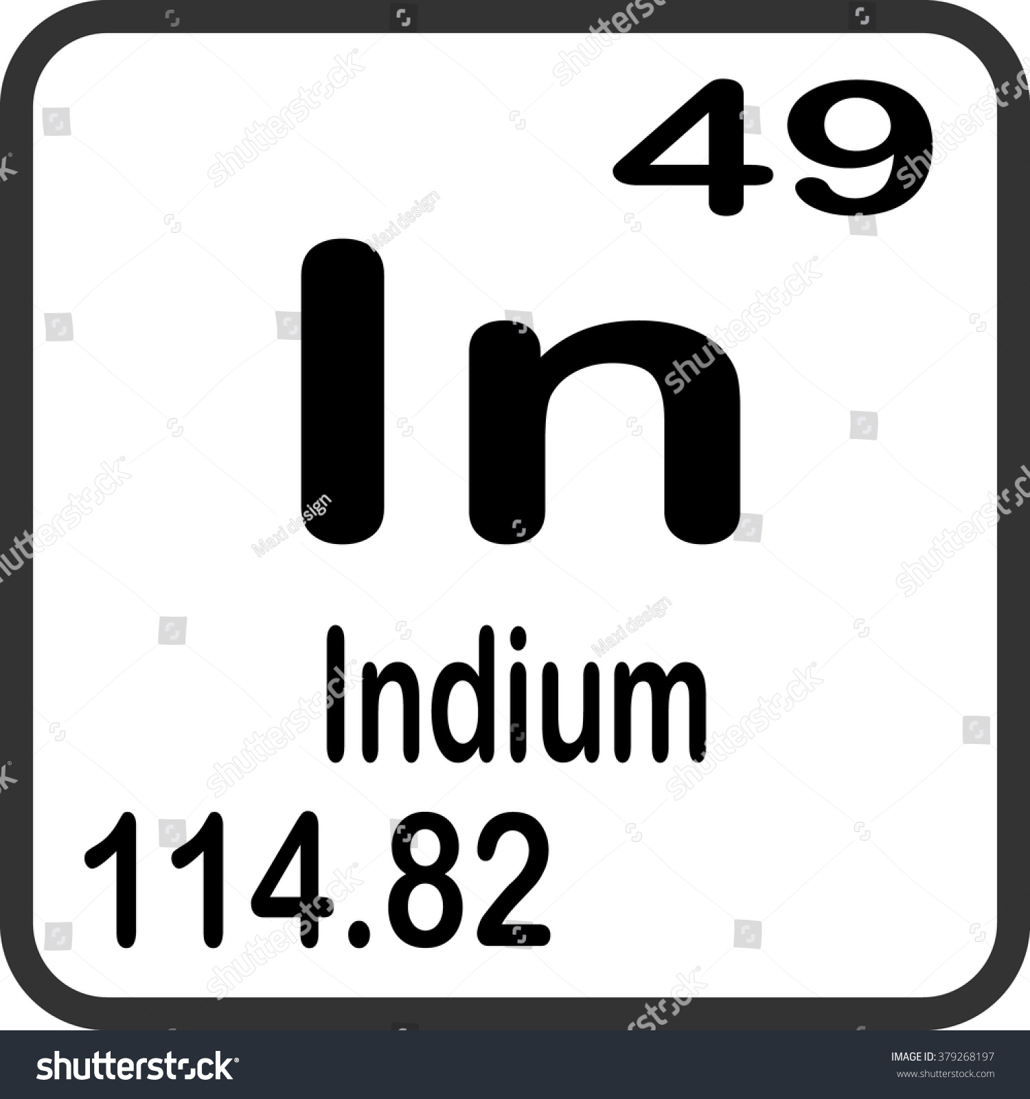 Periodic table elements indium stock vector 379268197 shutterstock periodic table of elements indium gamestrikefo Gallery