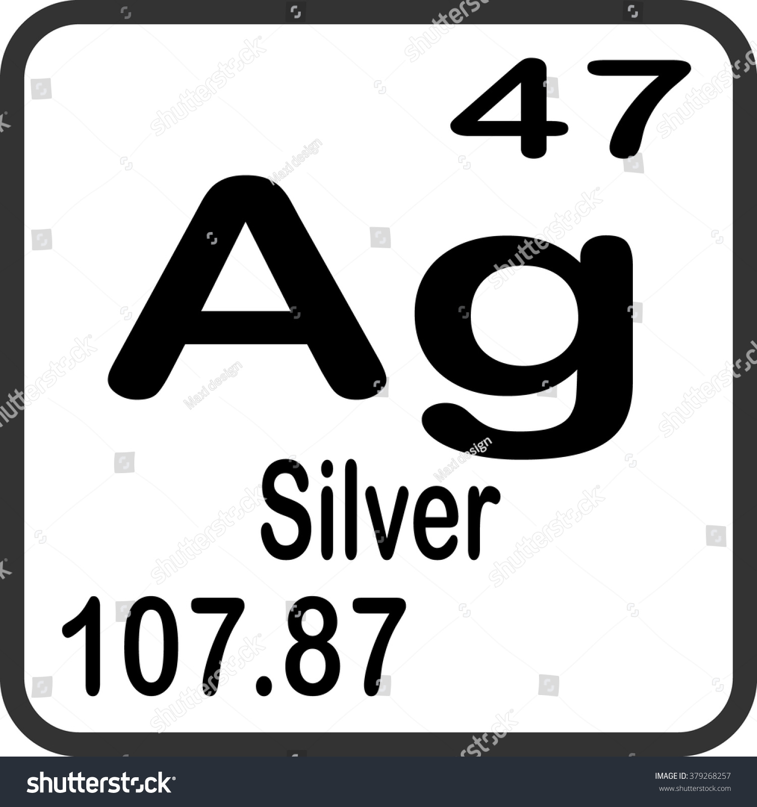 Periodic table elements silver stock vector 379268257 shutterstock urtaz Gallery