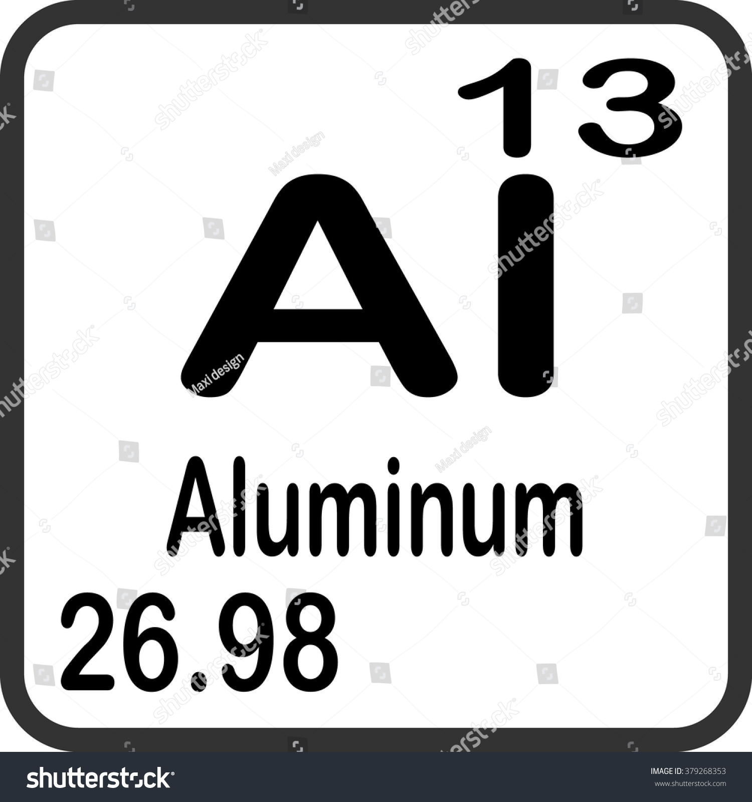Periodic table elements aluminum stock vector 379268353 shutterstock periodic table of elements aluminum gamestrikefo Image collections