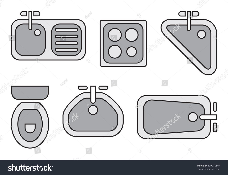 Standard Bathroom Kitchen Symbols Used Architecture Stock Vector Hd