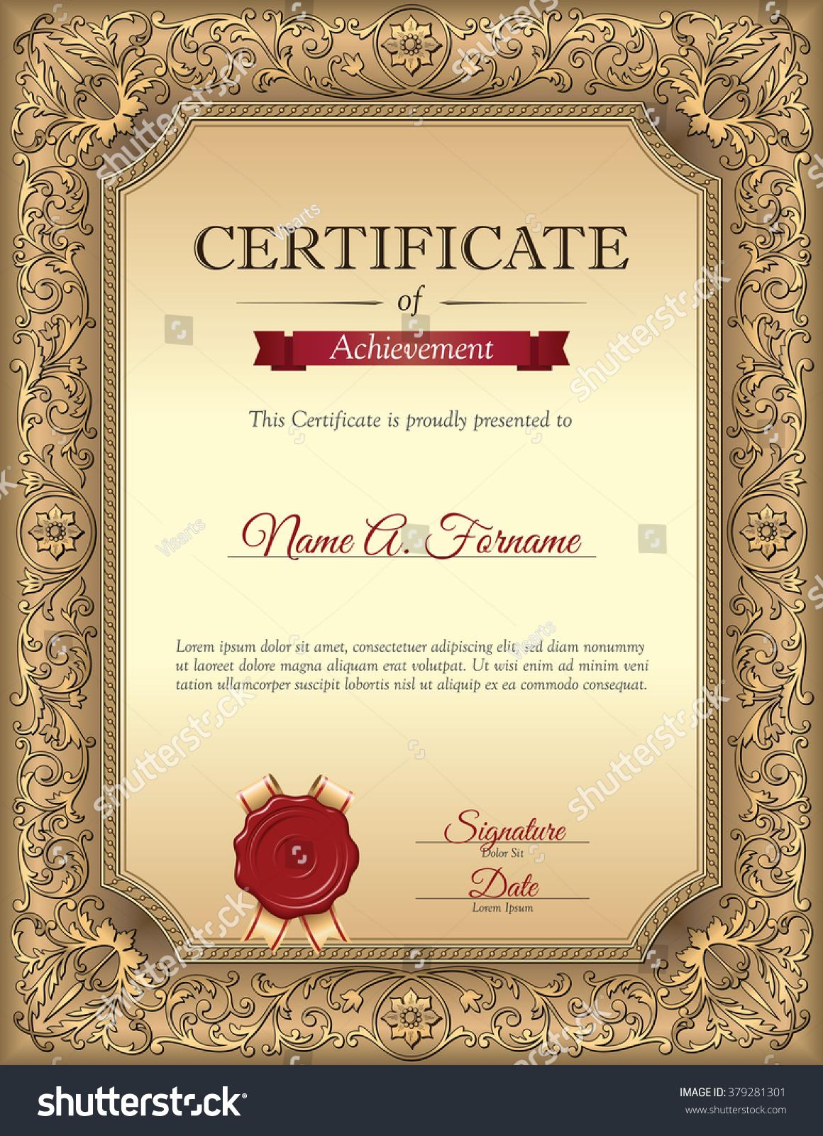 Certificate Recognition Template Vintage Floral Frame Stock Vector ...