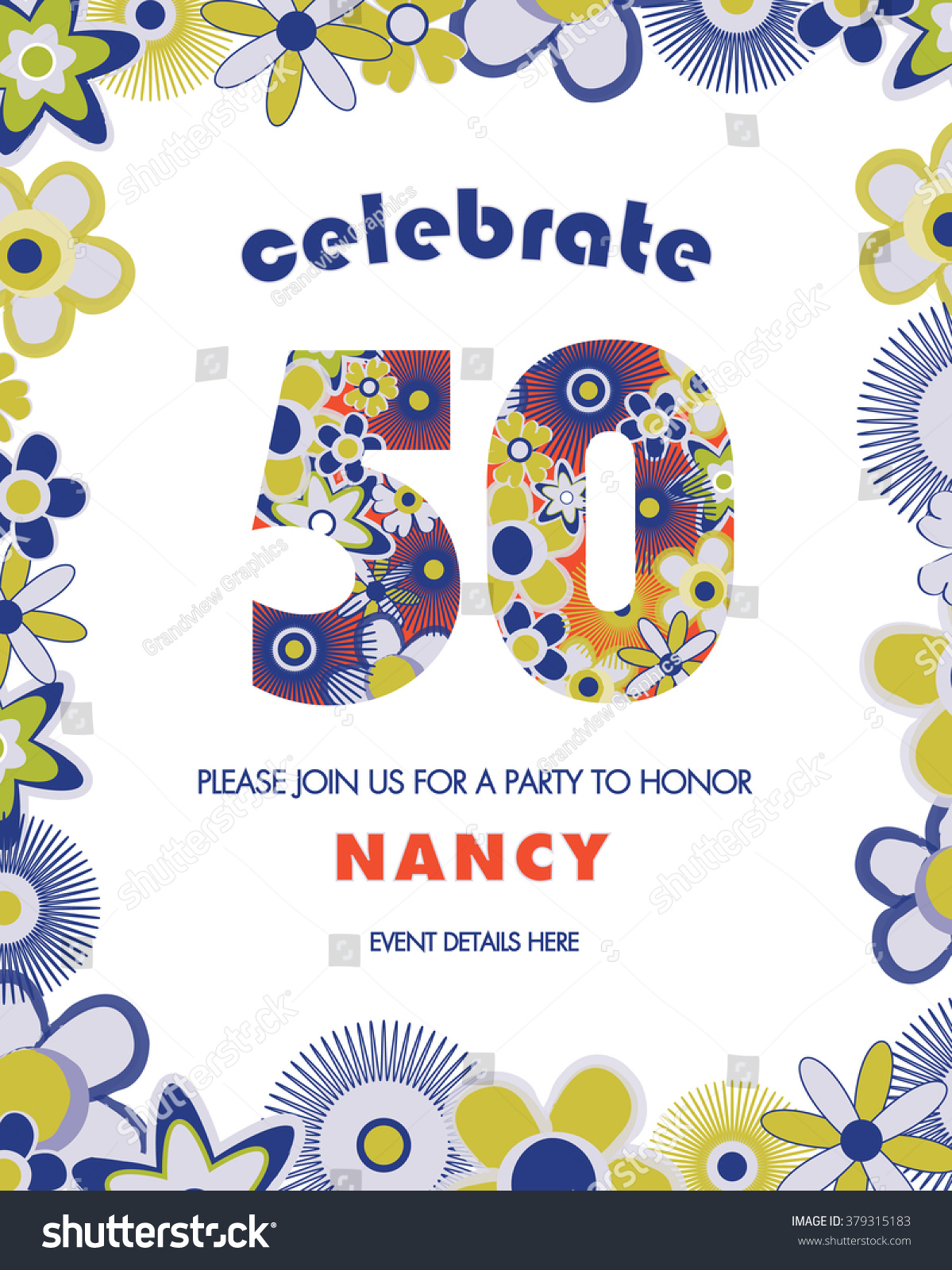 50th Birthday Party Invitation Template Retro Stock Vector (Royalty ...
