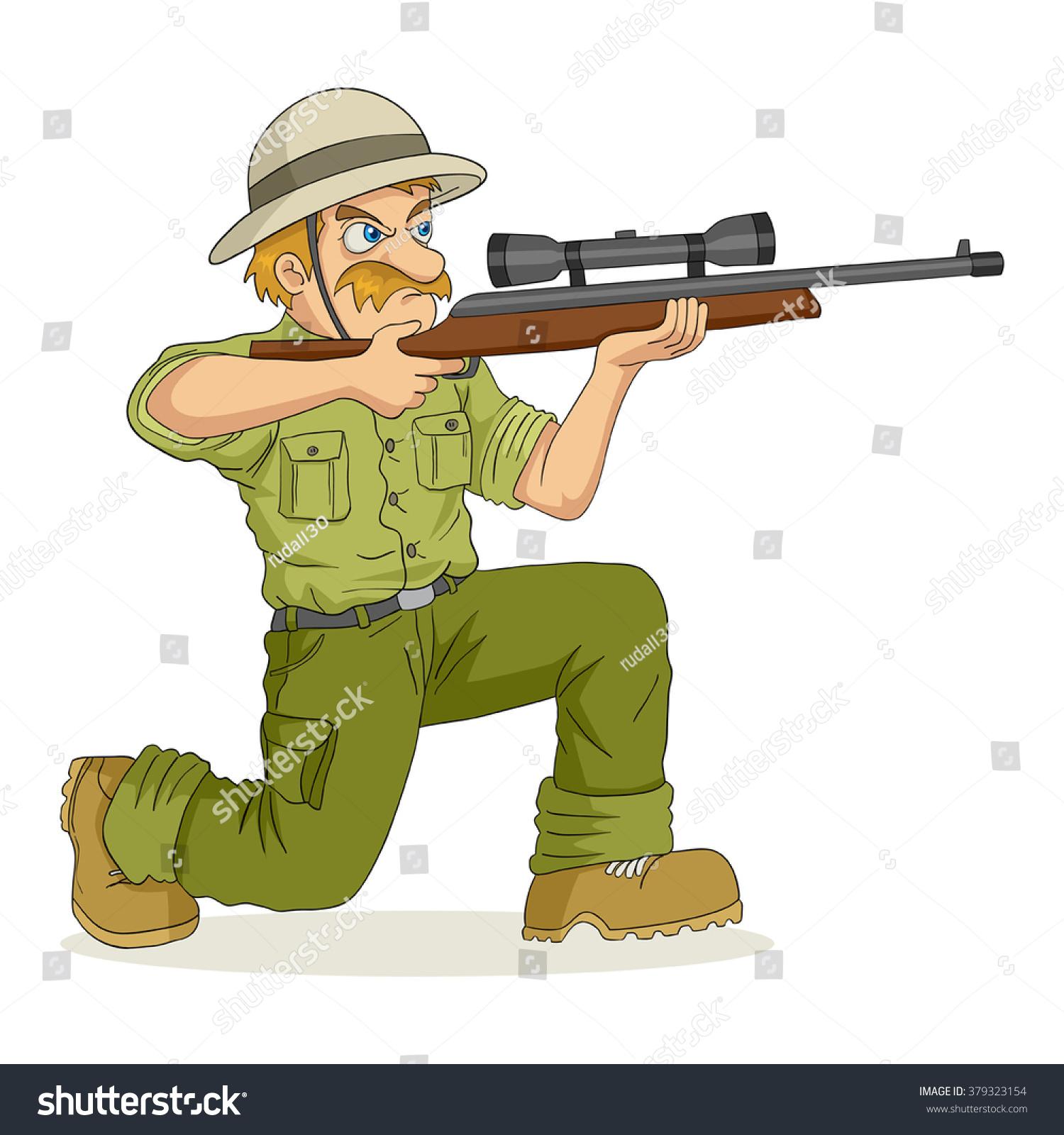 Rifle cartoon cartoon illustration of a hunter aiming a rifle
