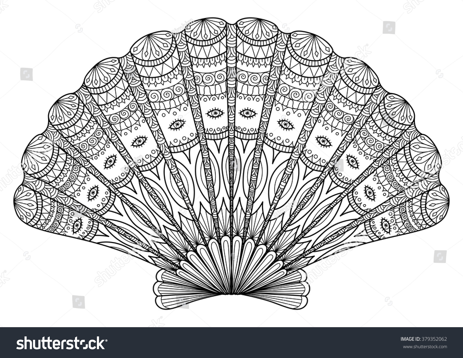 Seashell Line Art For Coloring Book T Shirt Design Effect Logo Tattoo And