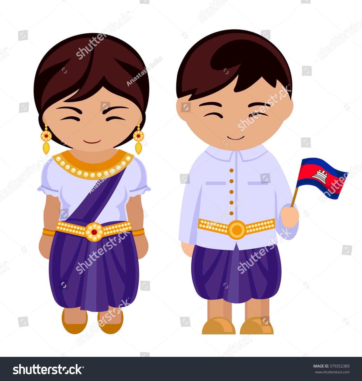 cambodians national dress flag man woman stock vector