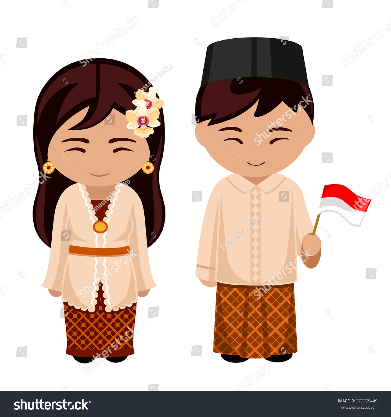 indonesians national dress flag man woman stock vector