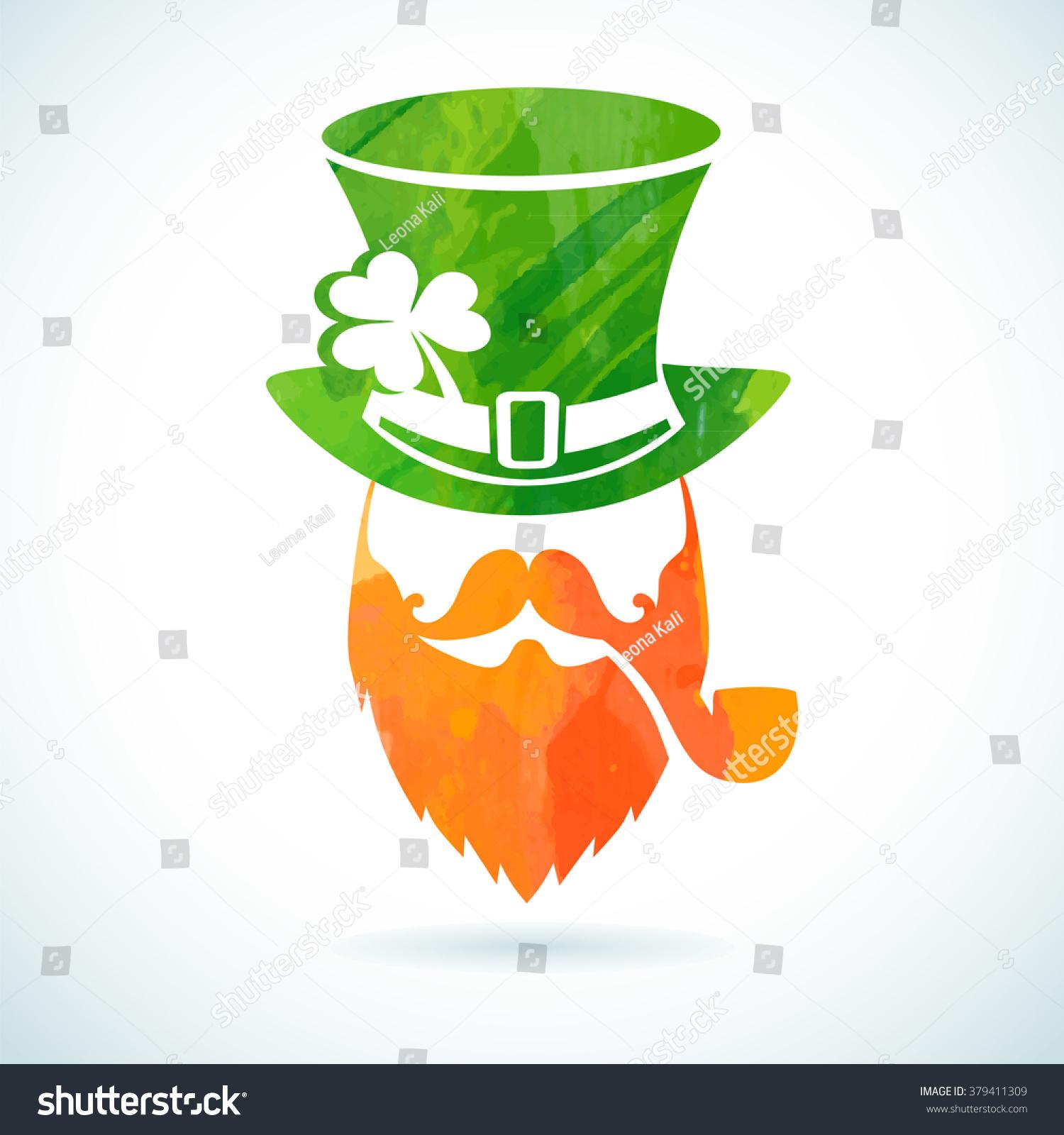 irish leprechaun logo greeting card template stock vector shamrock vector image shamrock vector art