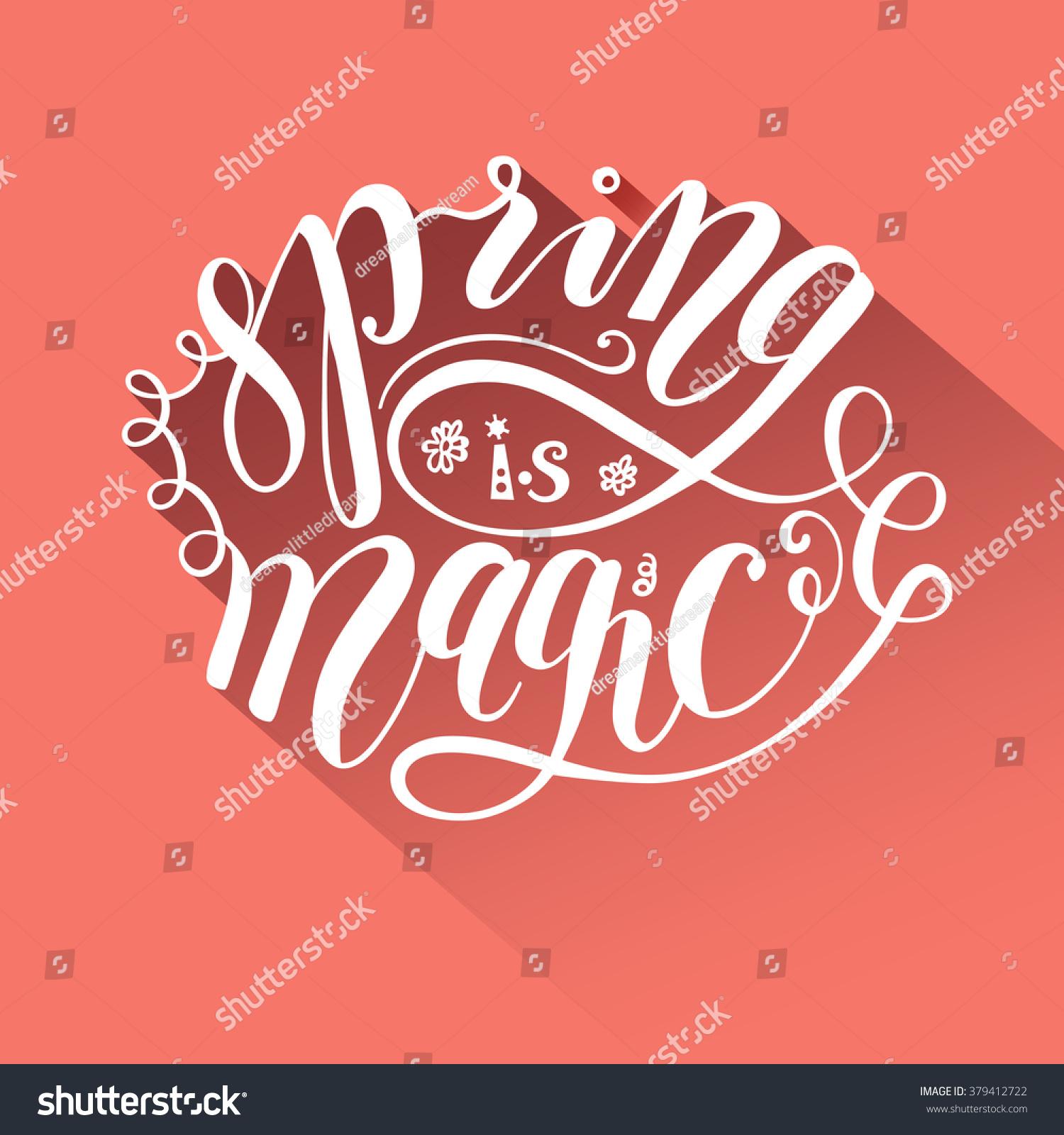 Spring magic greeting card flat design stock vector 379412722 spring is magic greeting card flat design lettering peach kristyandbryce Images