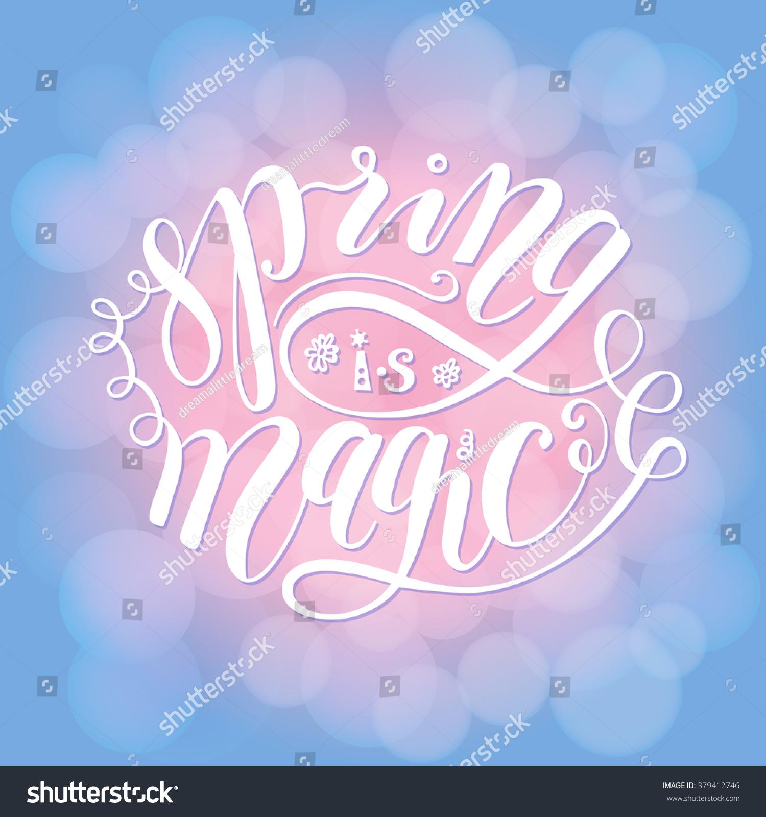 Spring magic greeting card flat design stock vector 379412746 spring is magic greeting card flat design lettering blue kristyandbryce Images