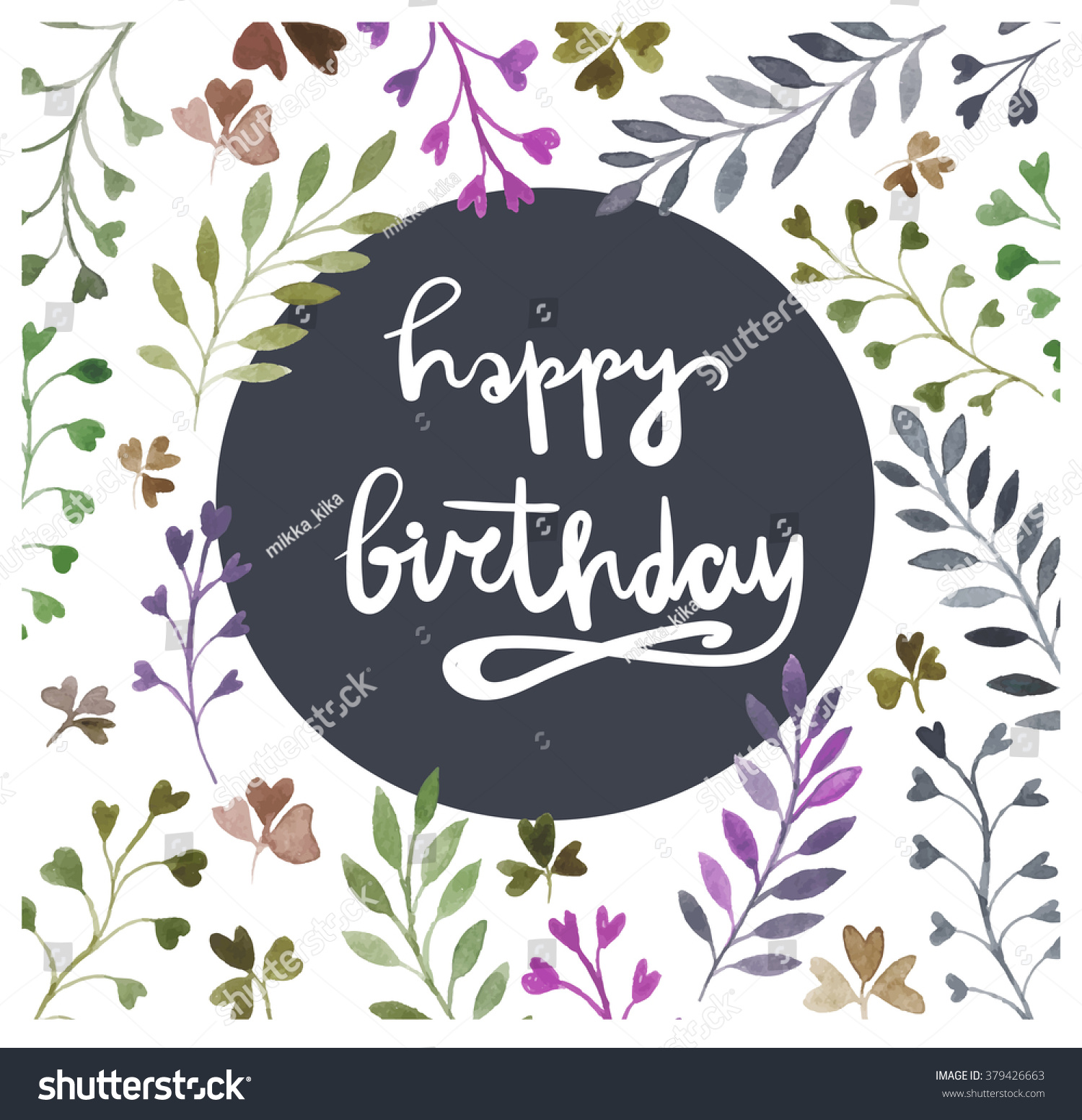 Happy Birthday Card Watercolor Painting Hand Stock Vector