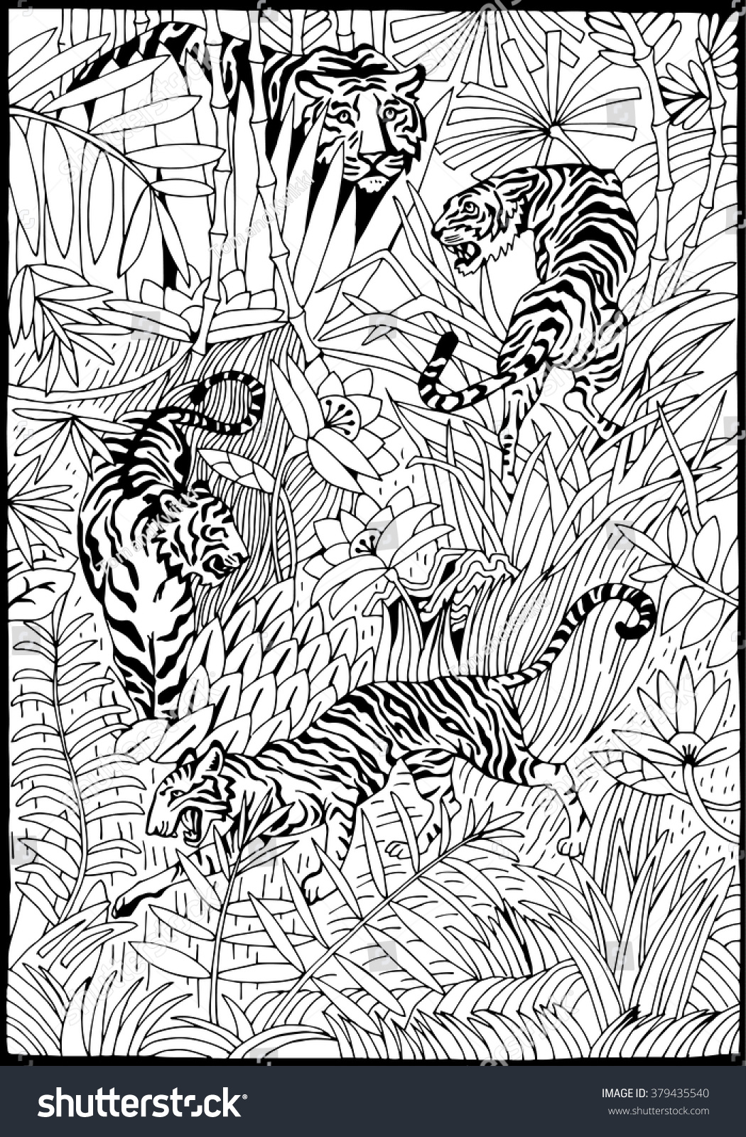 Tiger Jungle Coloring Page Stock Vector 379435540 - Shutterstock