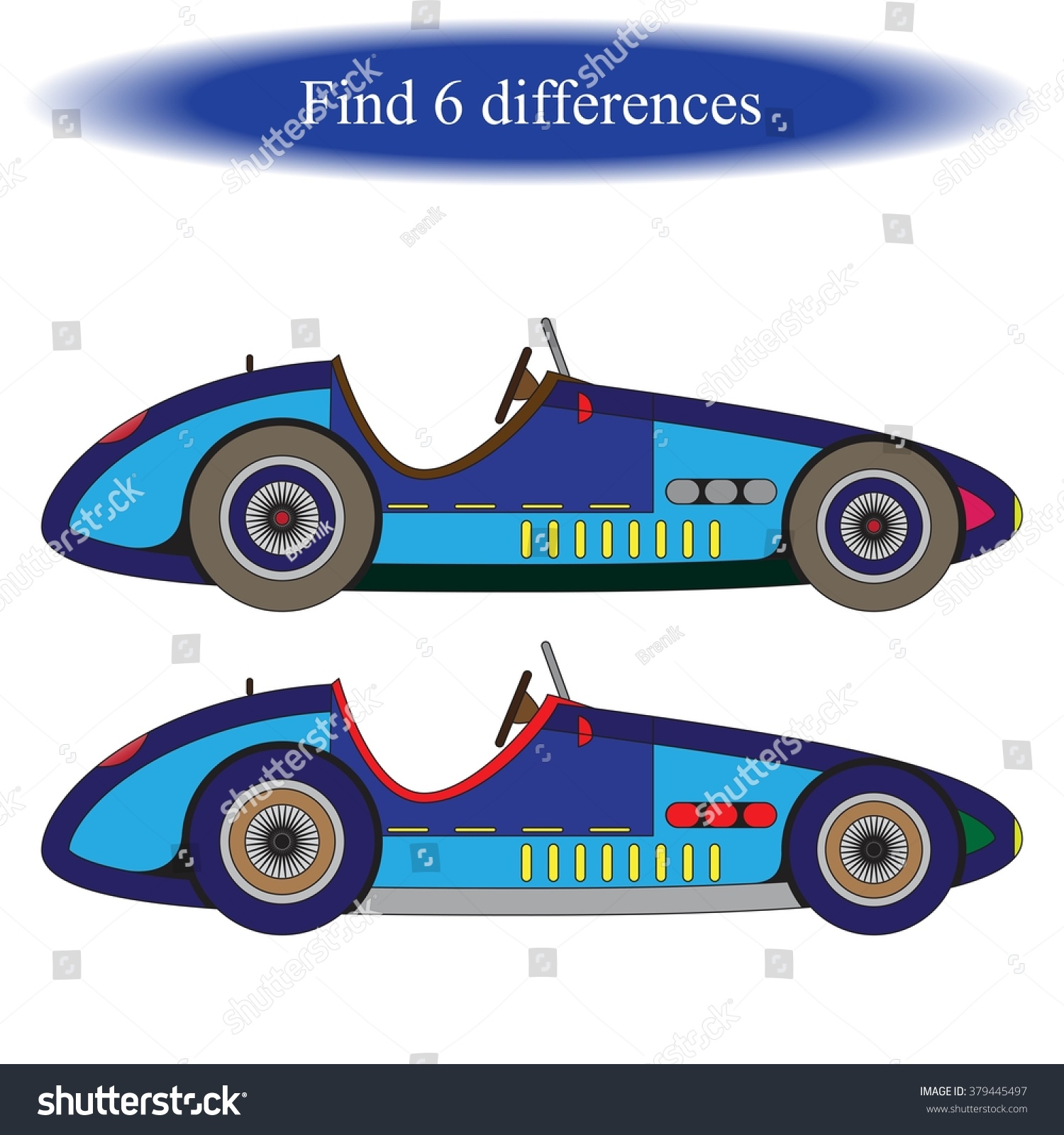 Find Differences Vintage Car Retro Car Stock Vector 379445497 ...