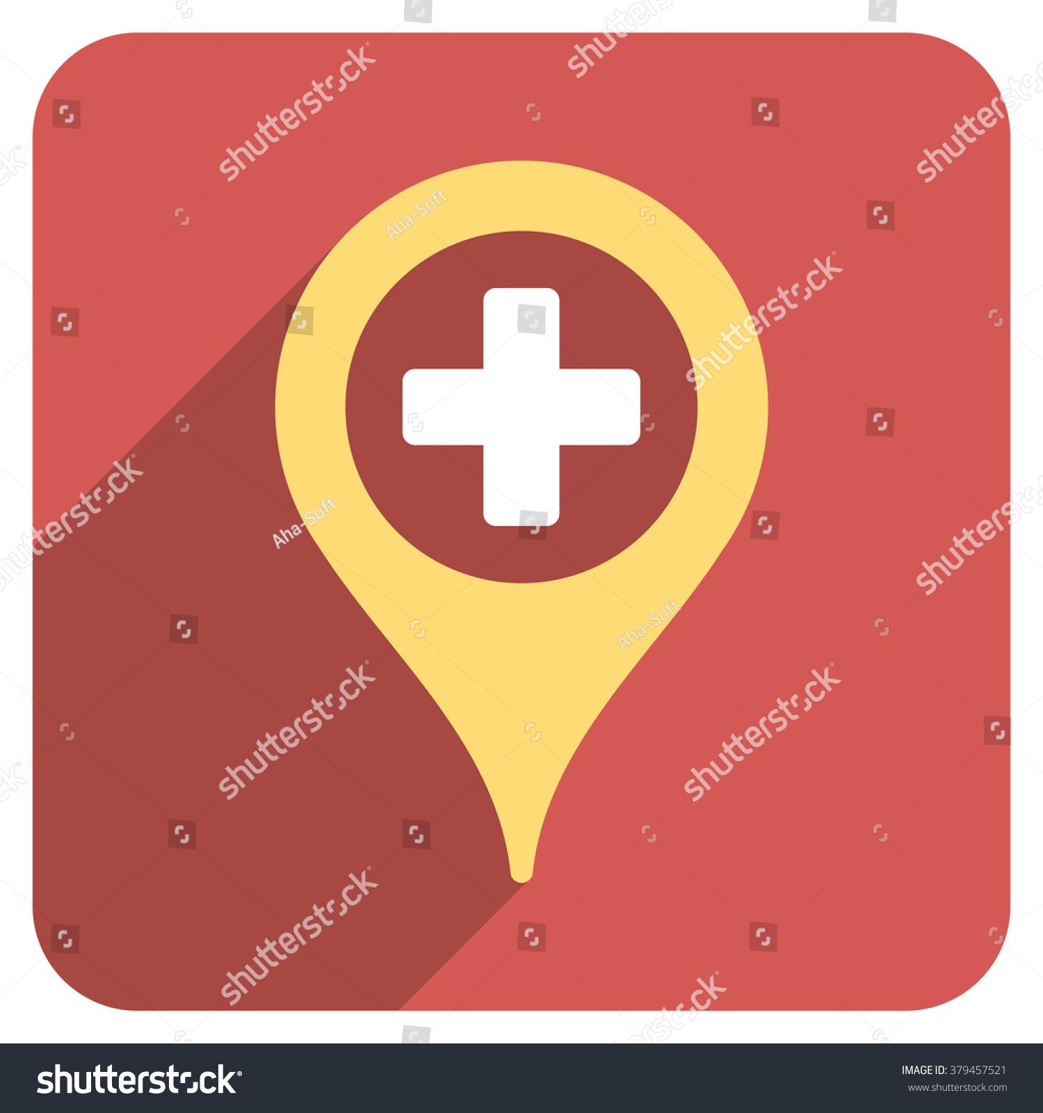 Hospital Map Pointer Long Shadow Vector Stock Vector Royalty Free
