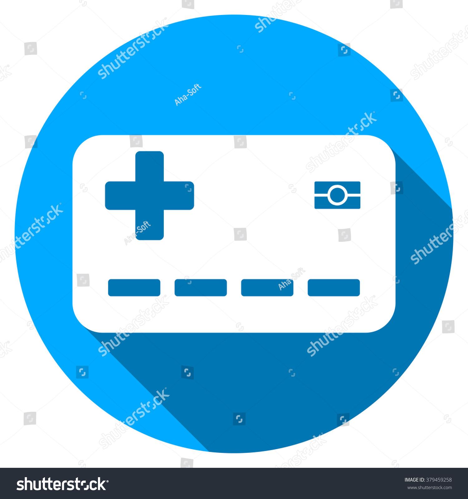 Medical Insurance Card Long Shadow Icon Stock Vector ...