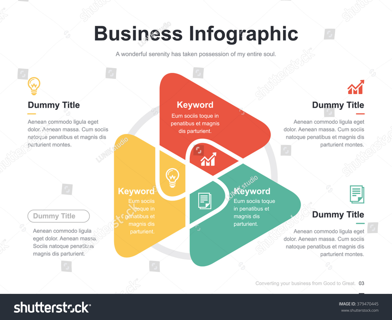 Flat business presentation vector slide template stock vector flat business presentation vector slide template with triangle venn diagram pooptronica