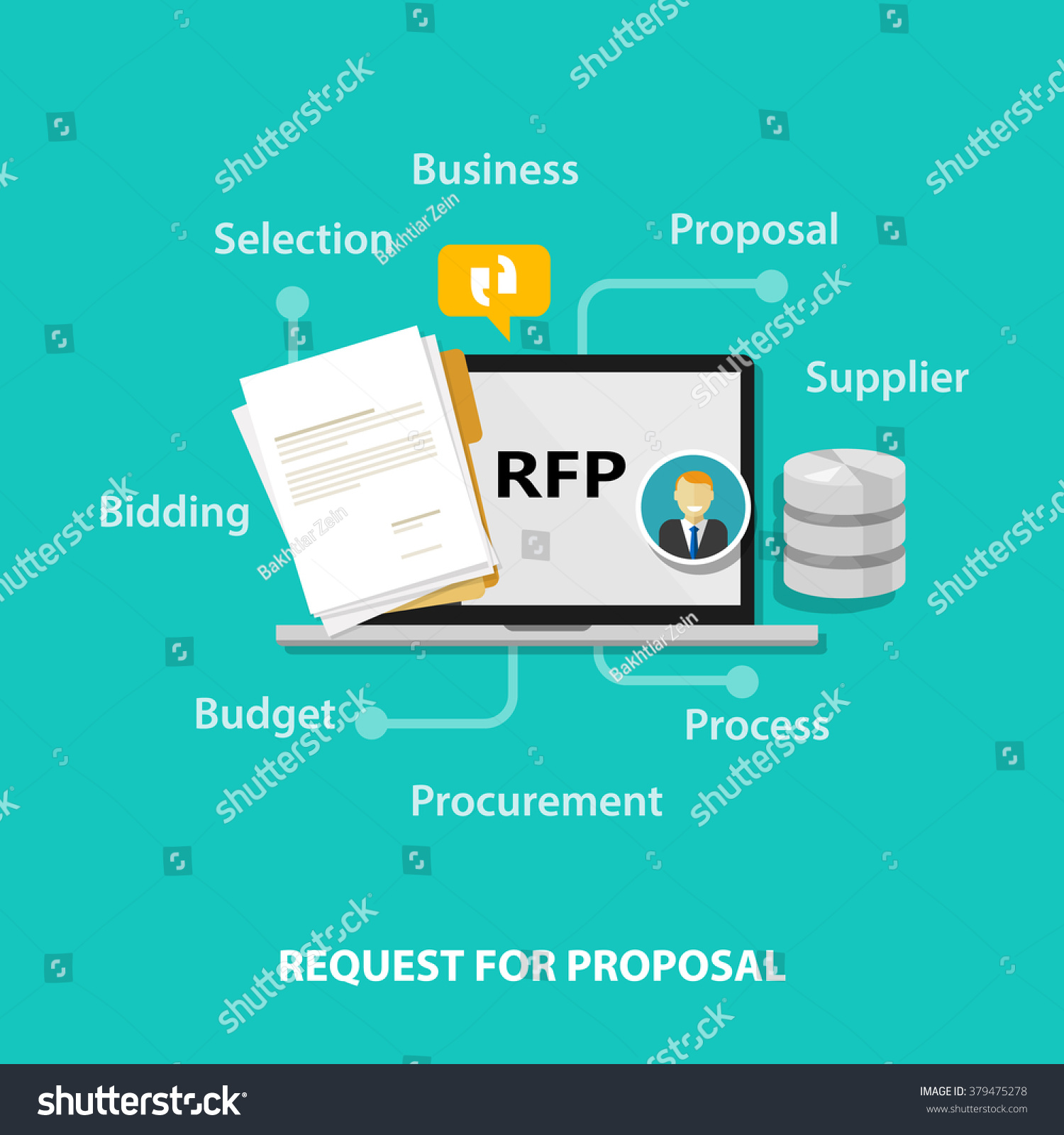 Rfp Request Proposal Icon Illustration Vector Stock Vector