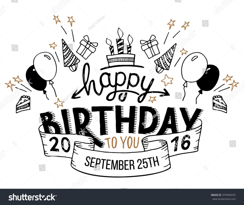 happy birthday you hand drawn typography stock vector 379499470 shutterstock